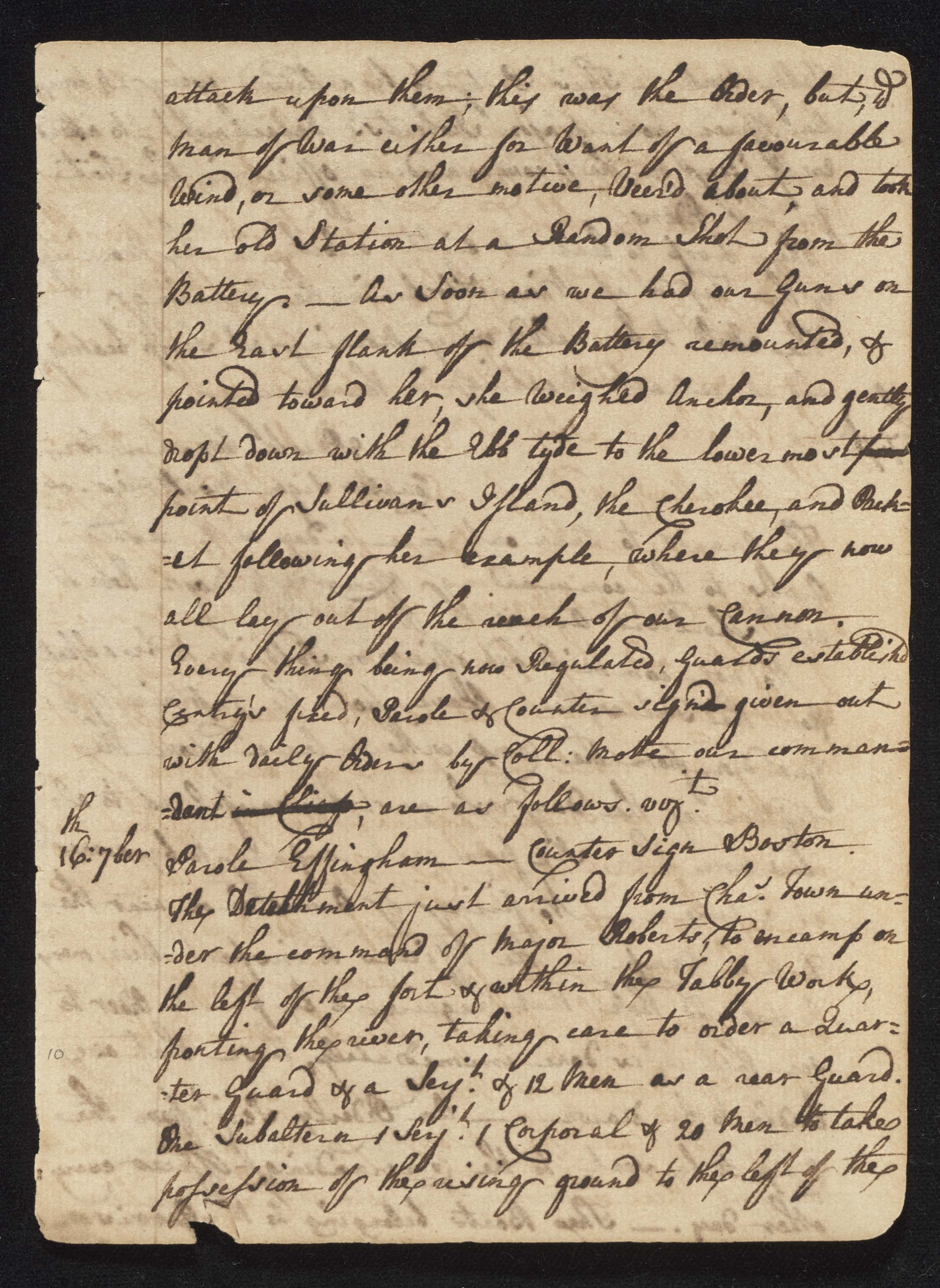South Carolina Regiment Order Book, Page 19