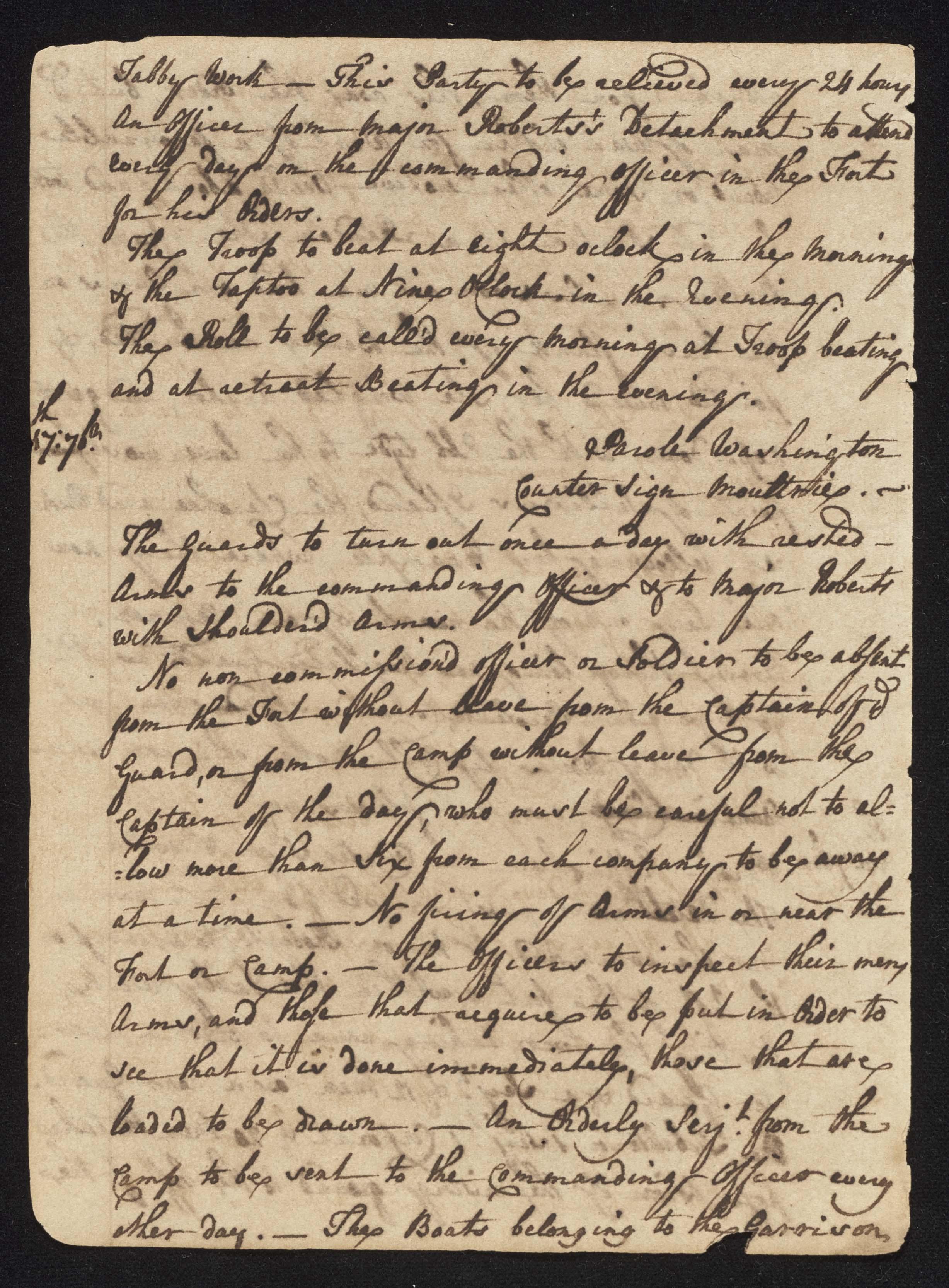 South Carolina Regiment Order Book, Page 20