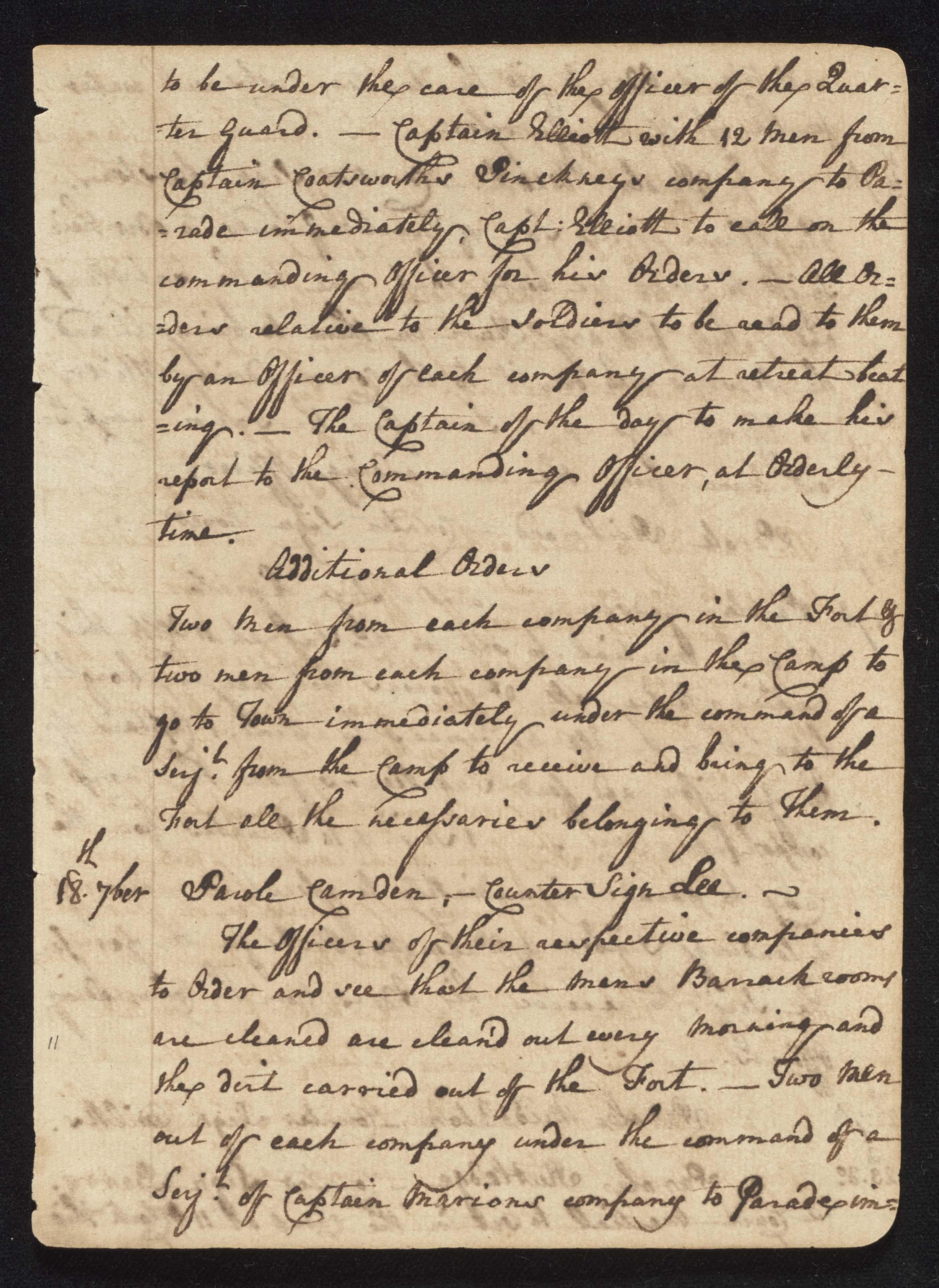 South Carolina Regiment Order Book, Page 21