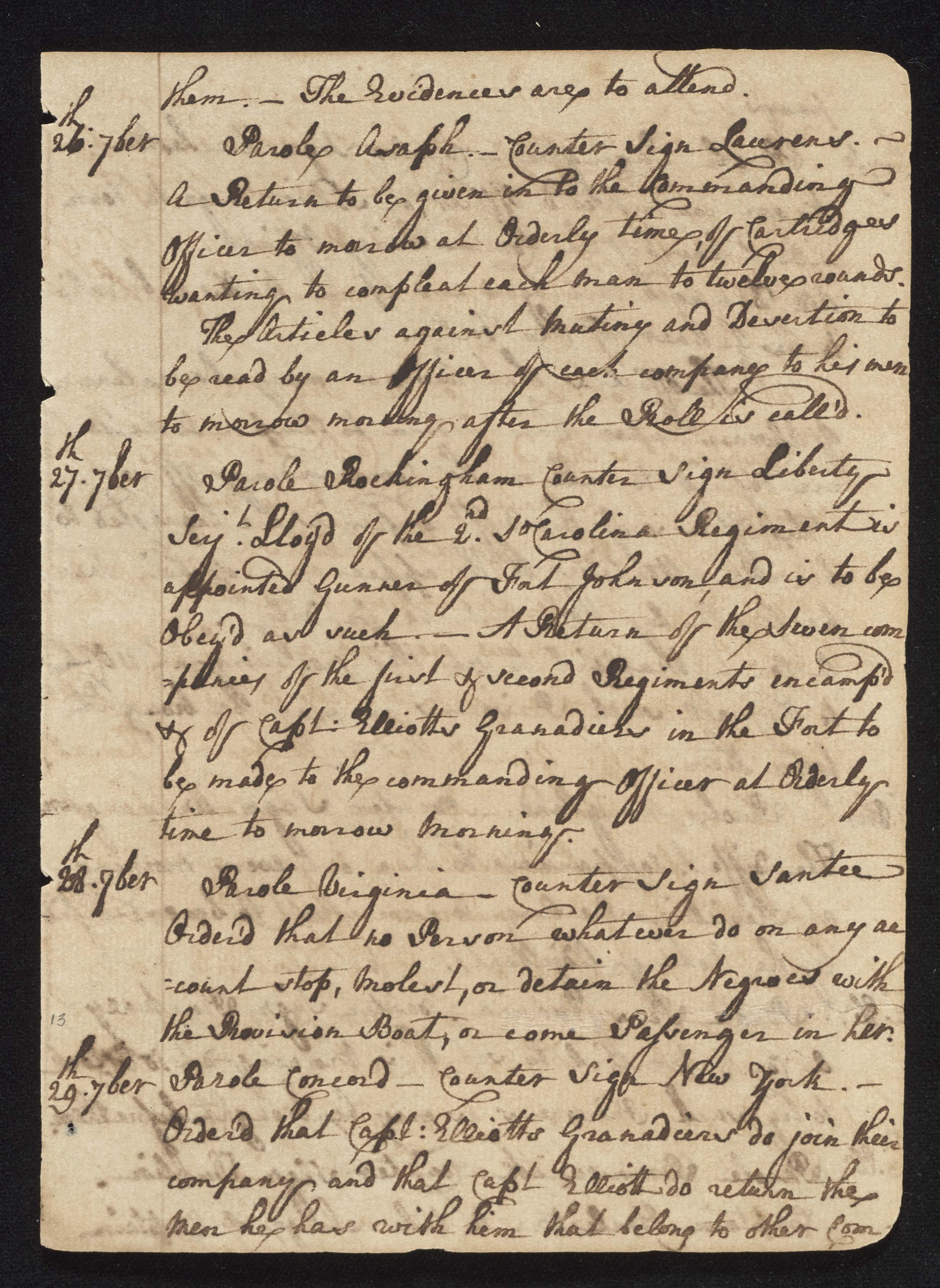 South Carolina Regiment Order Book, Page 25