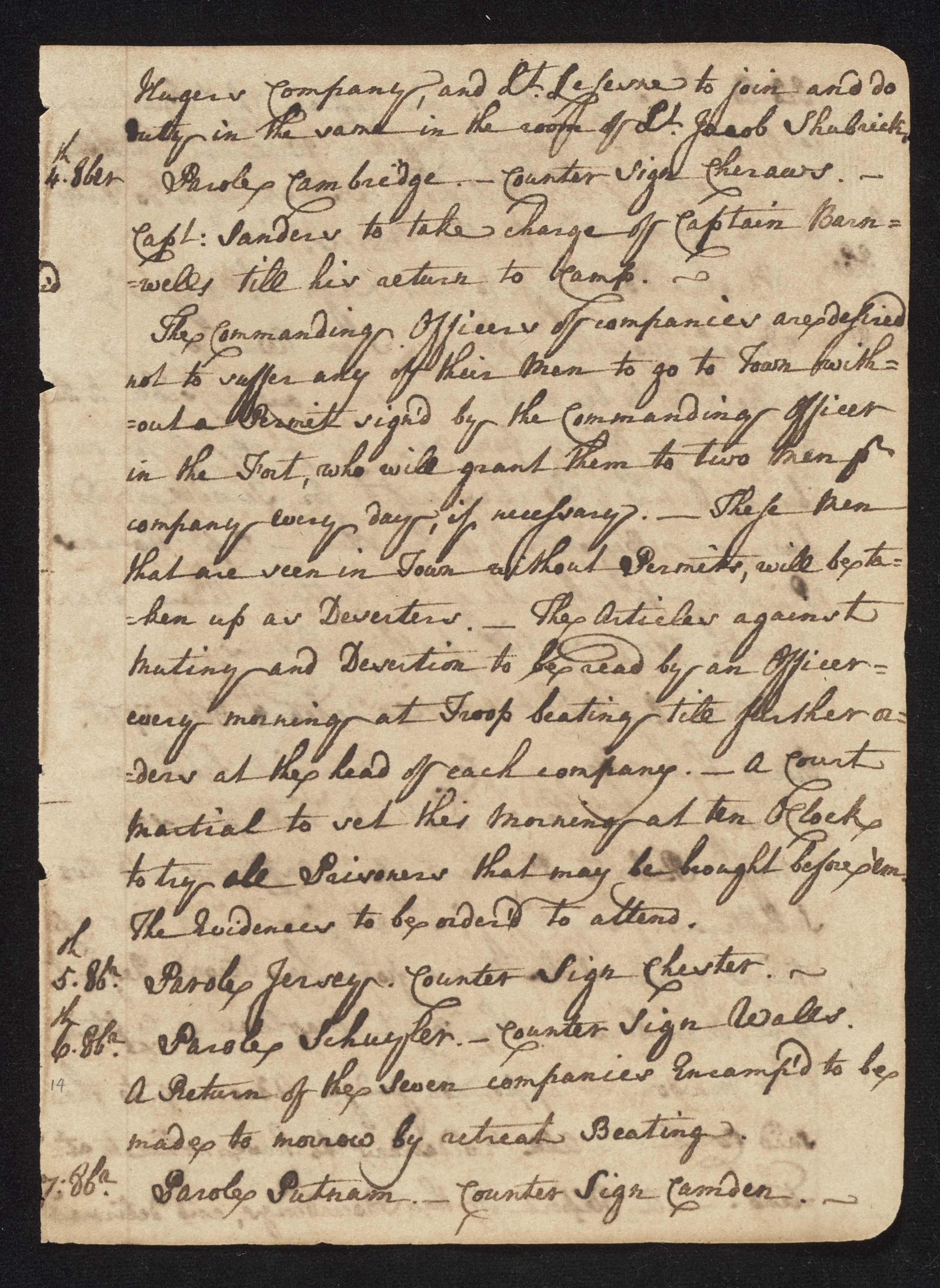 South Carolina Regiment Order Book, Page 27