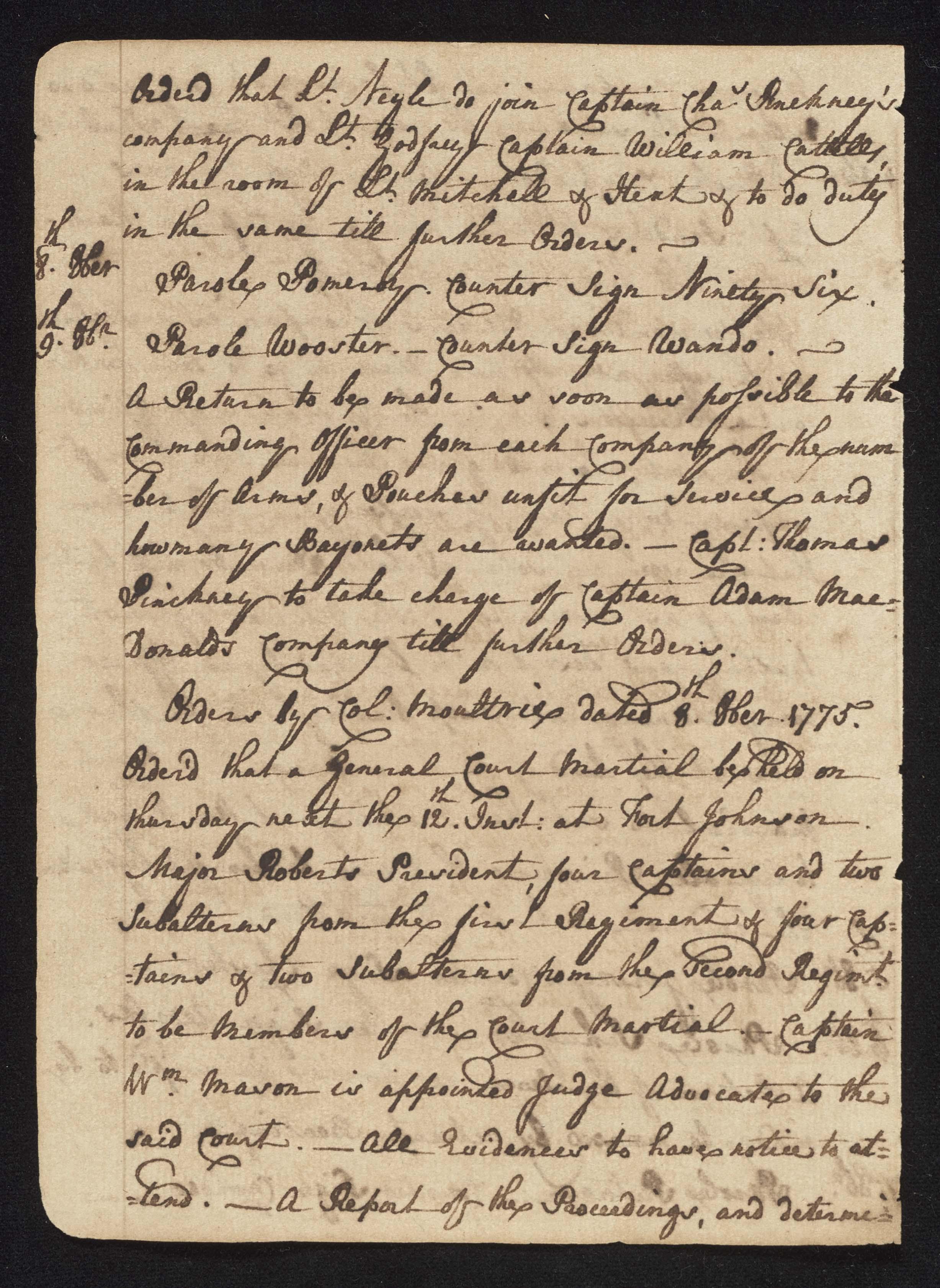 South Carolina Regiment Order Book, Page 28