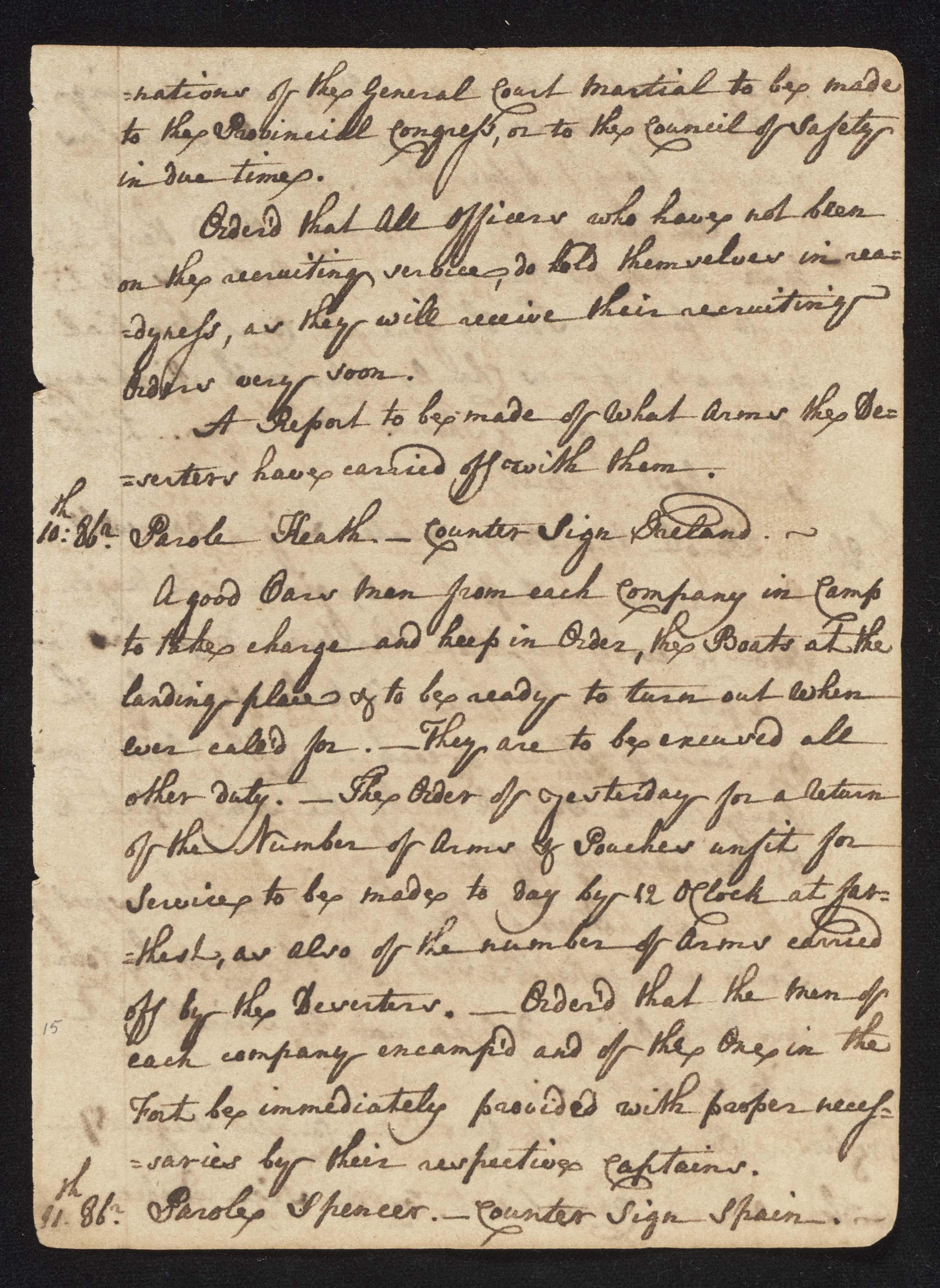 South Carolina Regiment Order Book, Page 29