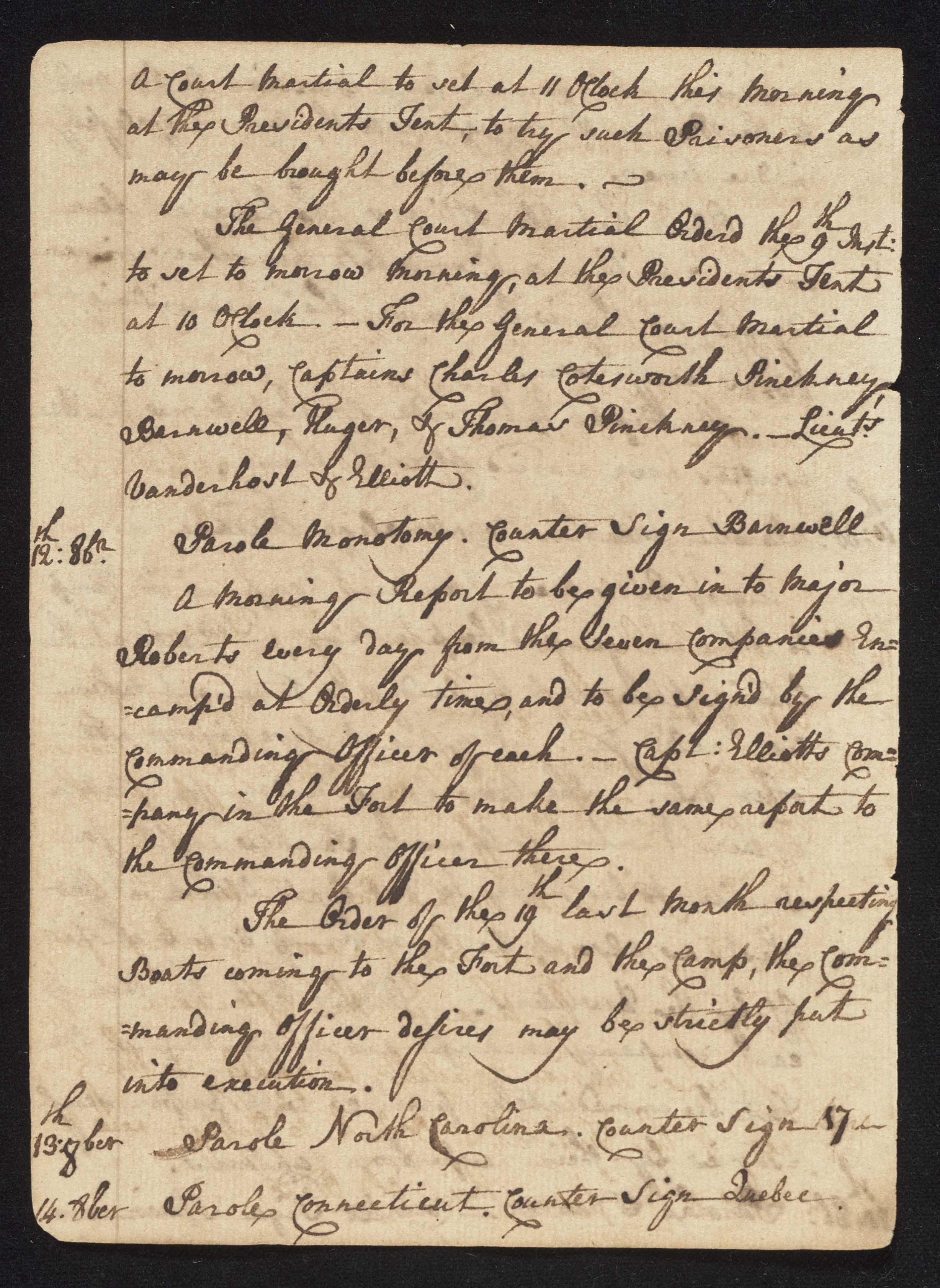 South Carolina Regiment Order Book, Page 30