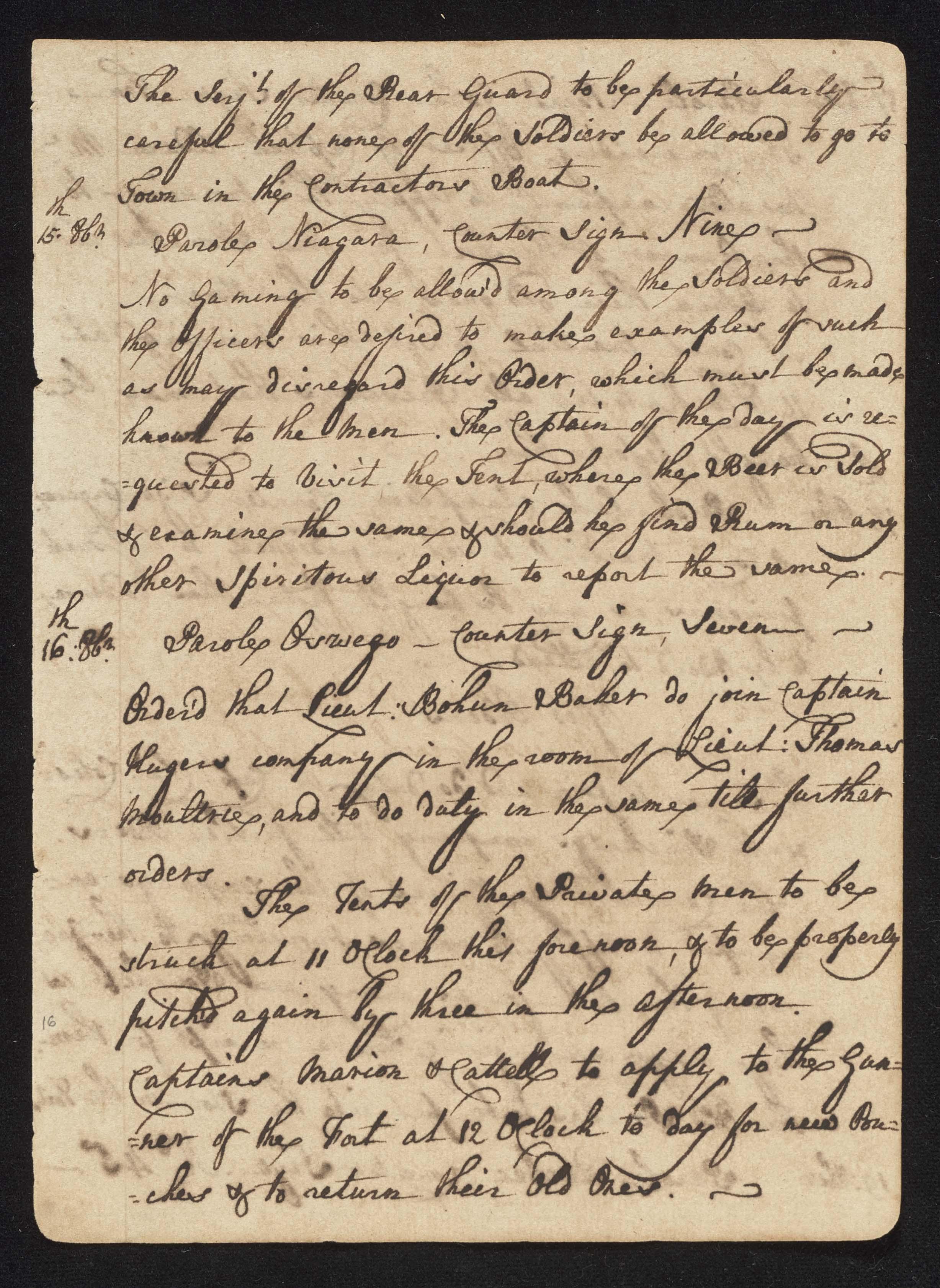 South Carolina Regiment Order Book, Page 31