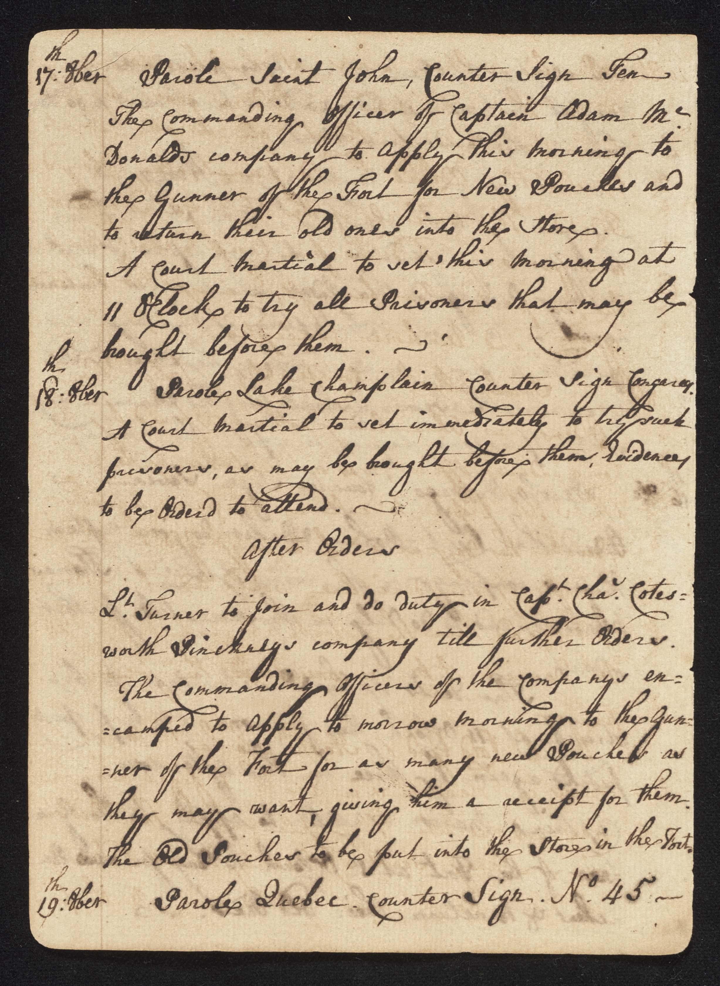 South Carolina Regiment Order Book, Page 32
