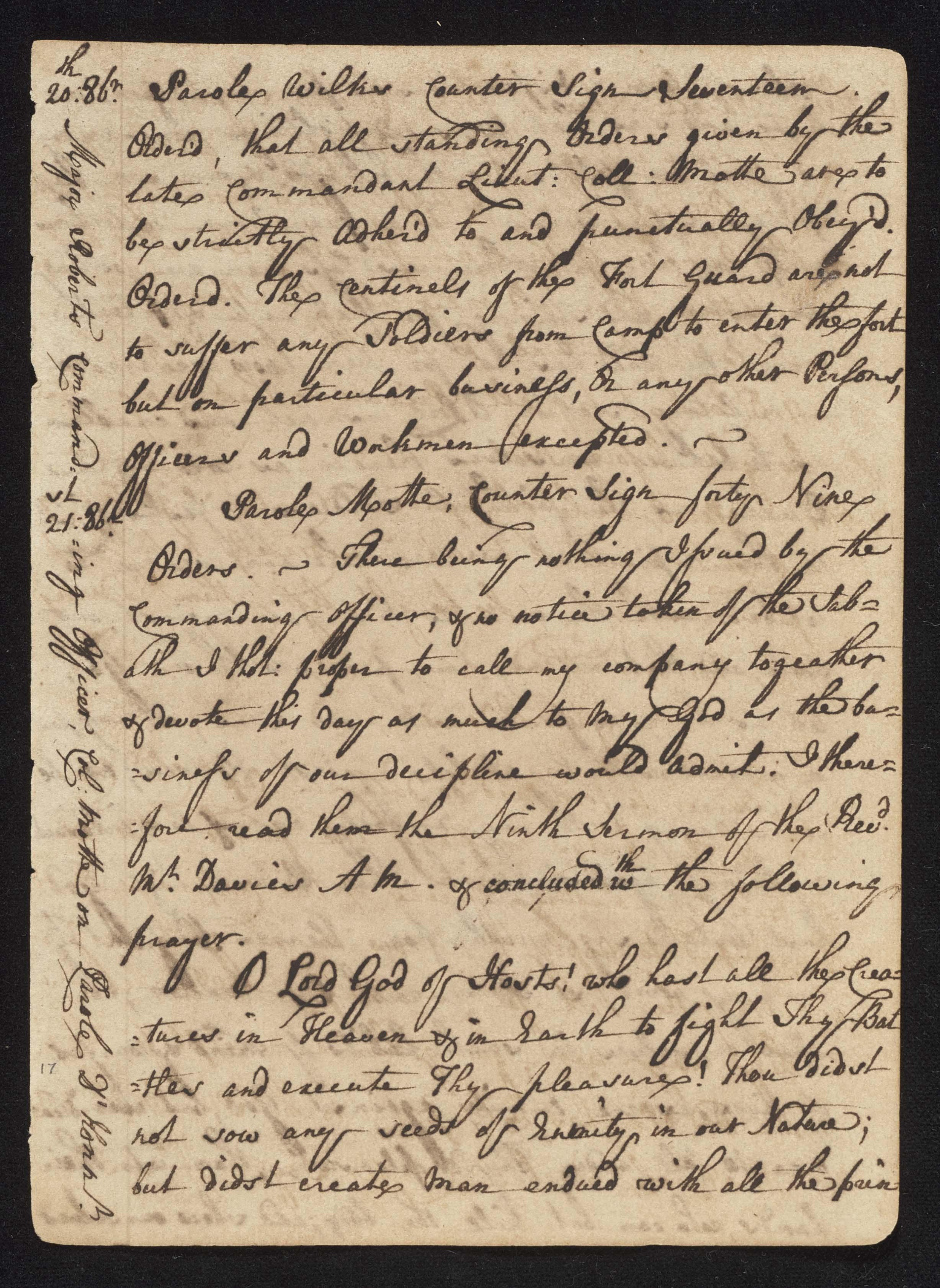 South Carolina Regiment Order Book, Page 33