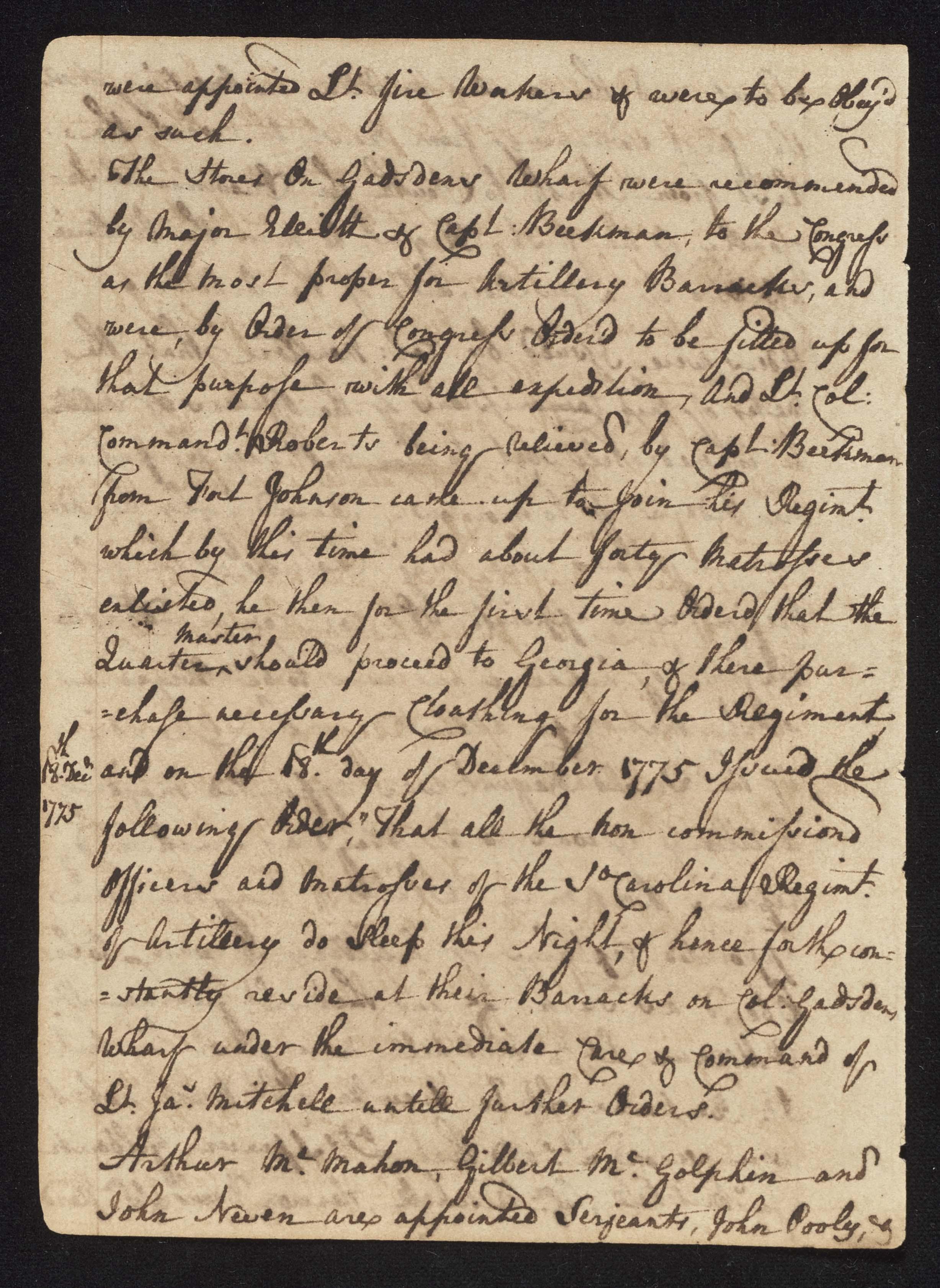 South Carolina Regiment Order Book, Page 52