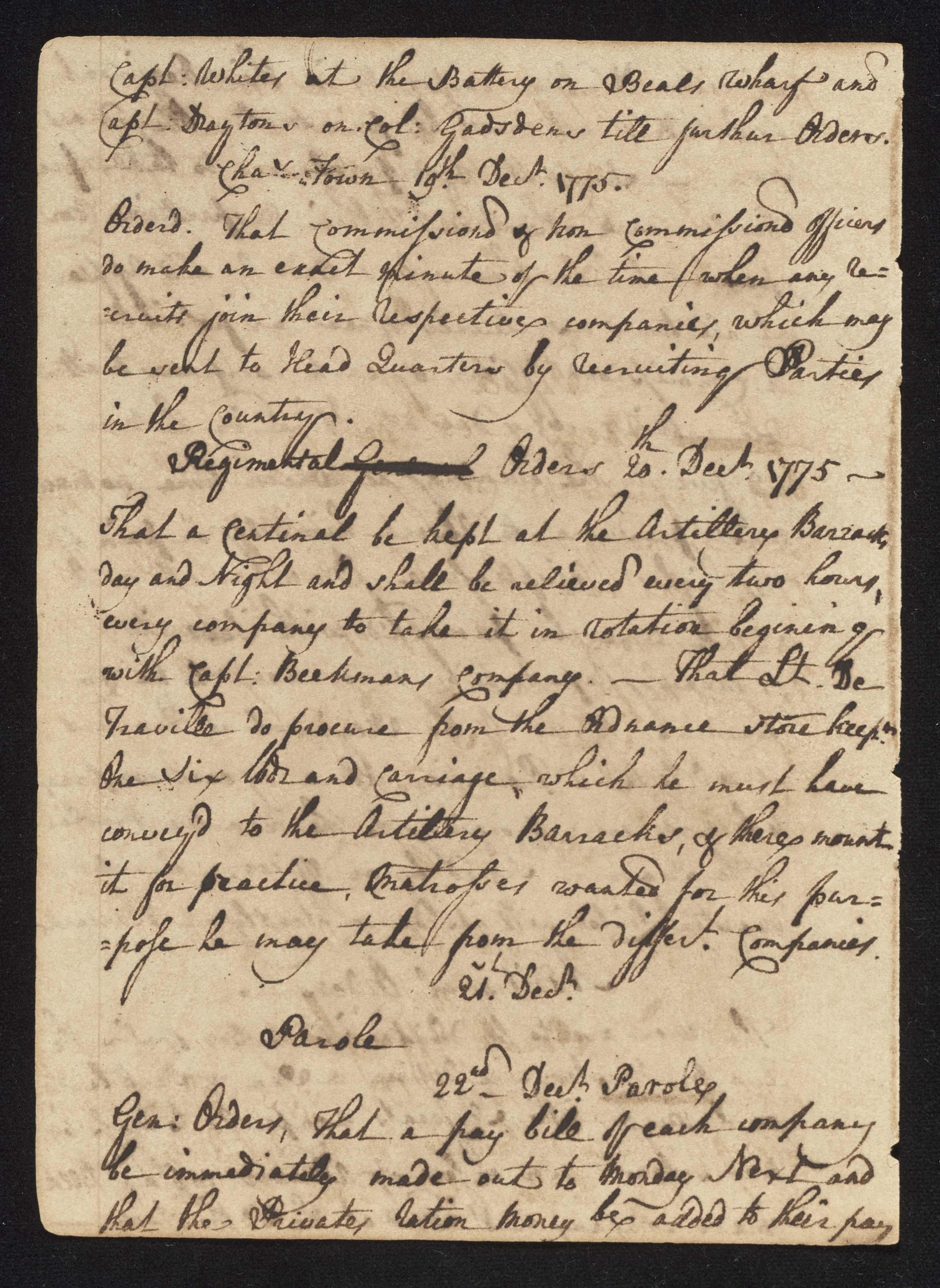 South Carolina Regiment Order Book, Page 54