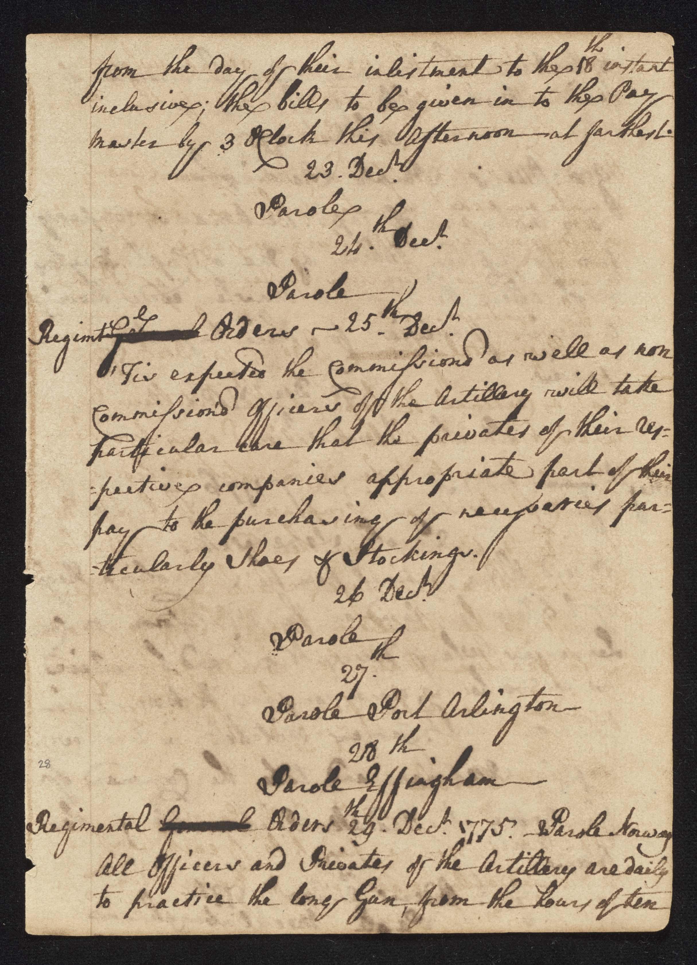 South Carolina Regiment Order Book, Page 55