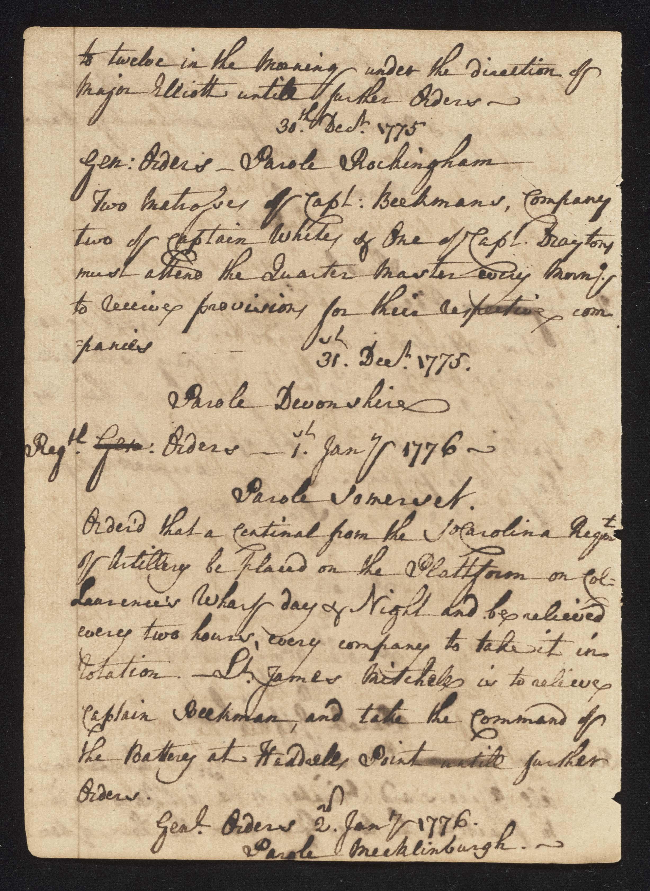 South Carolina Regiment Order Book, Page 56
