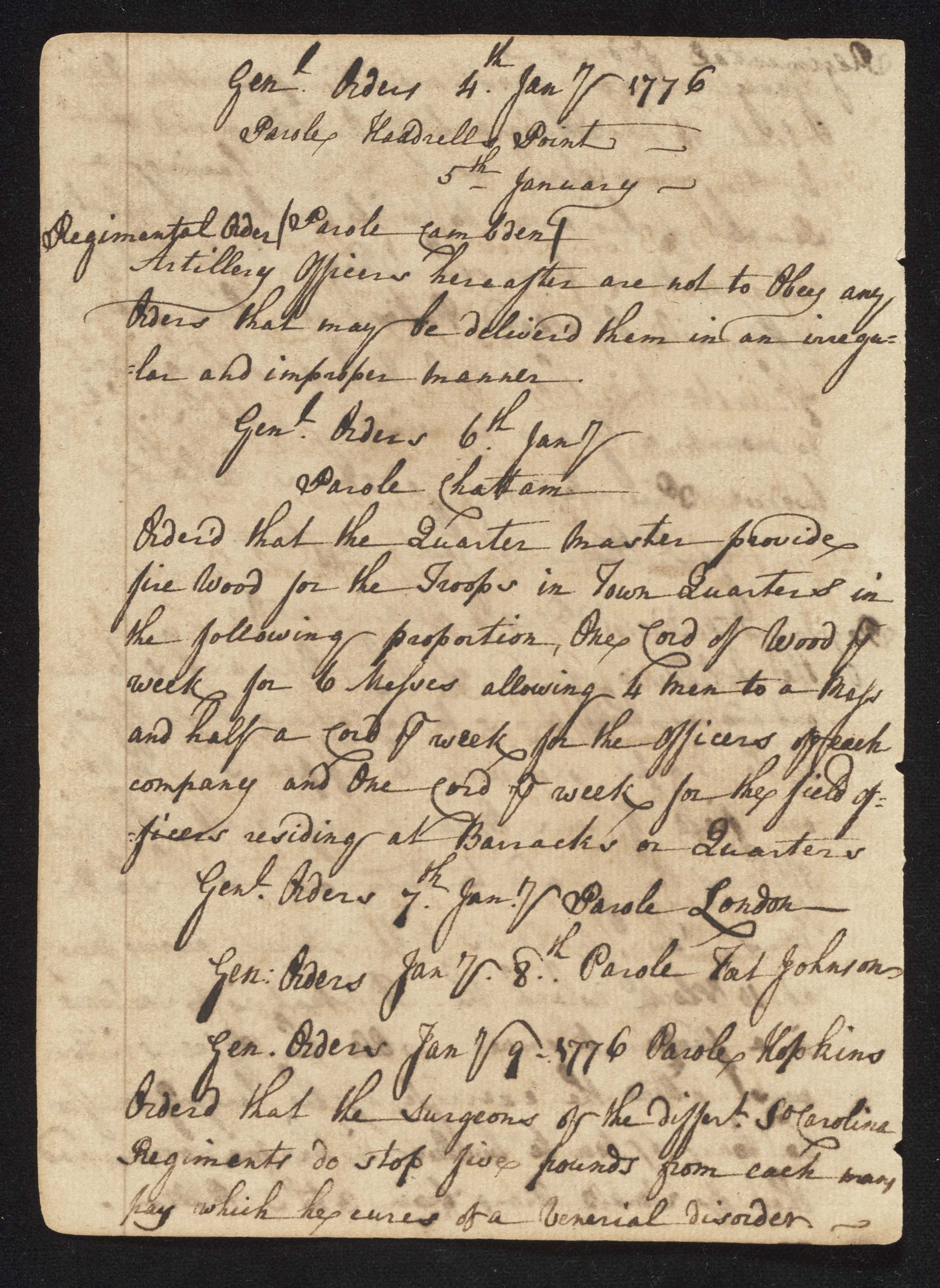 South Carolina Regiment Order Book, Page 58