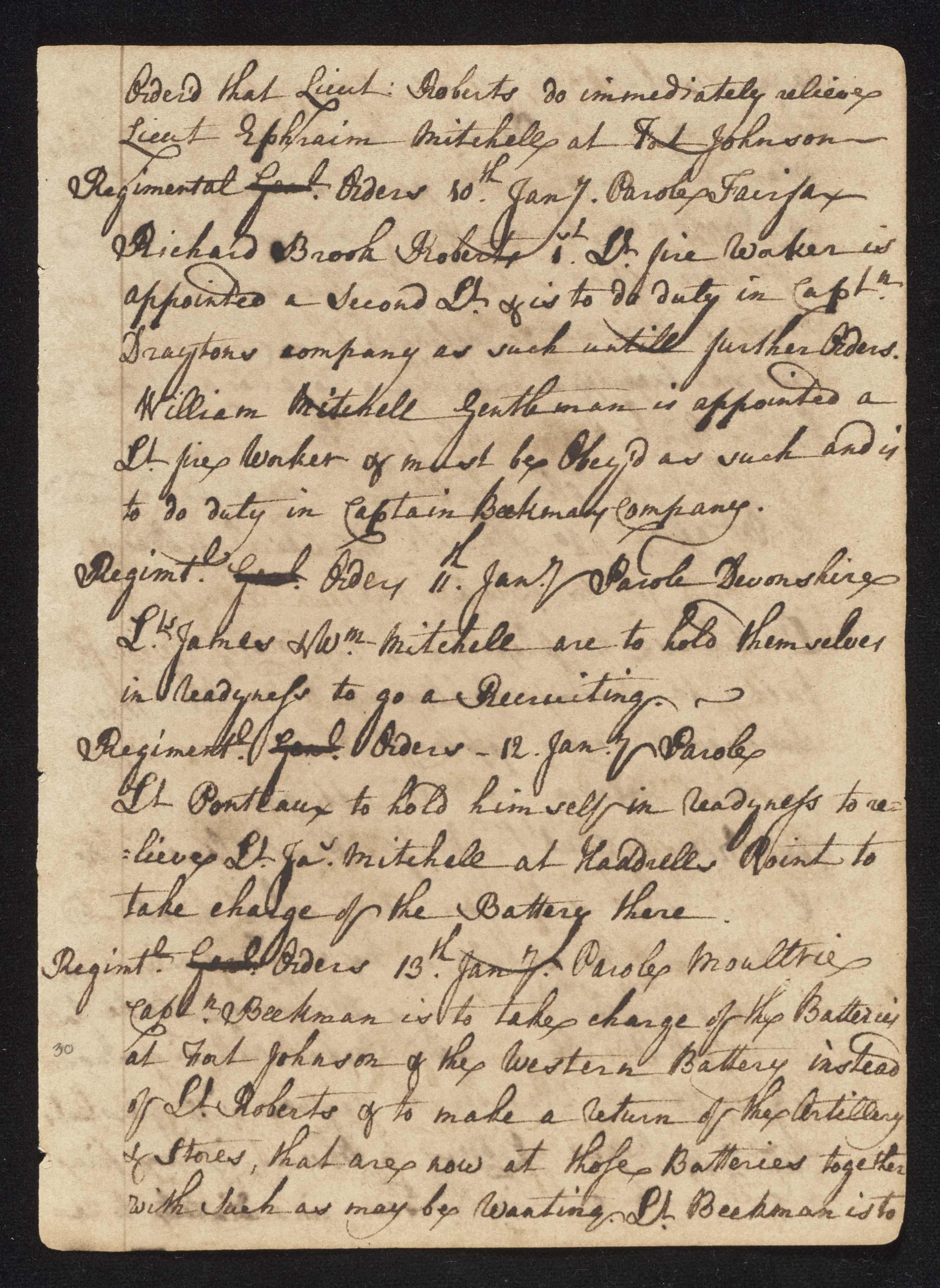 South Carolina Regiment Order Book, Page 59