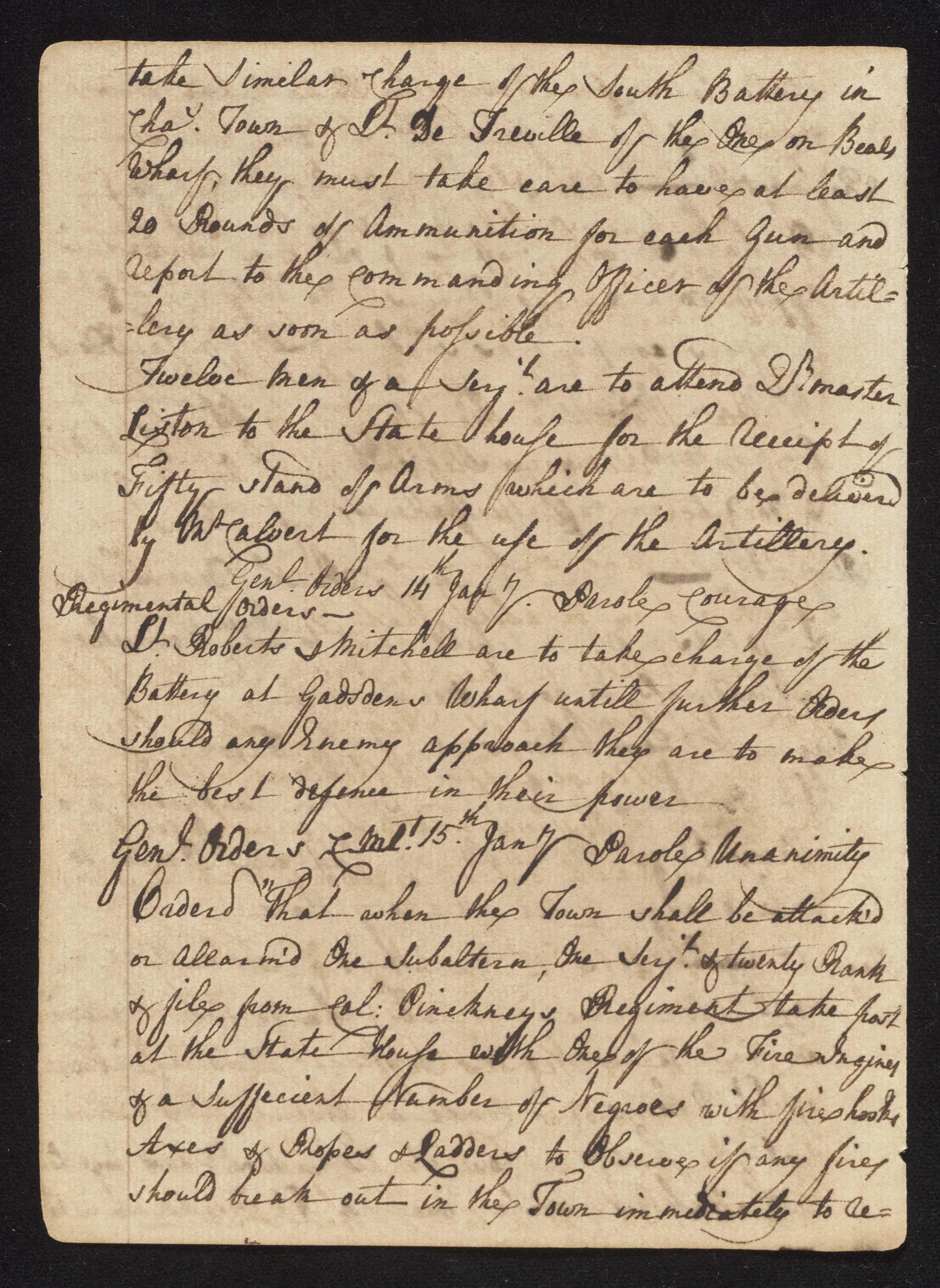 South Carolina Regiment Order Book, Page 60
