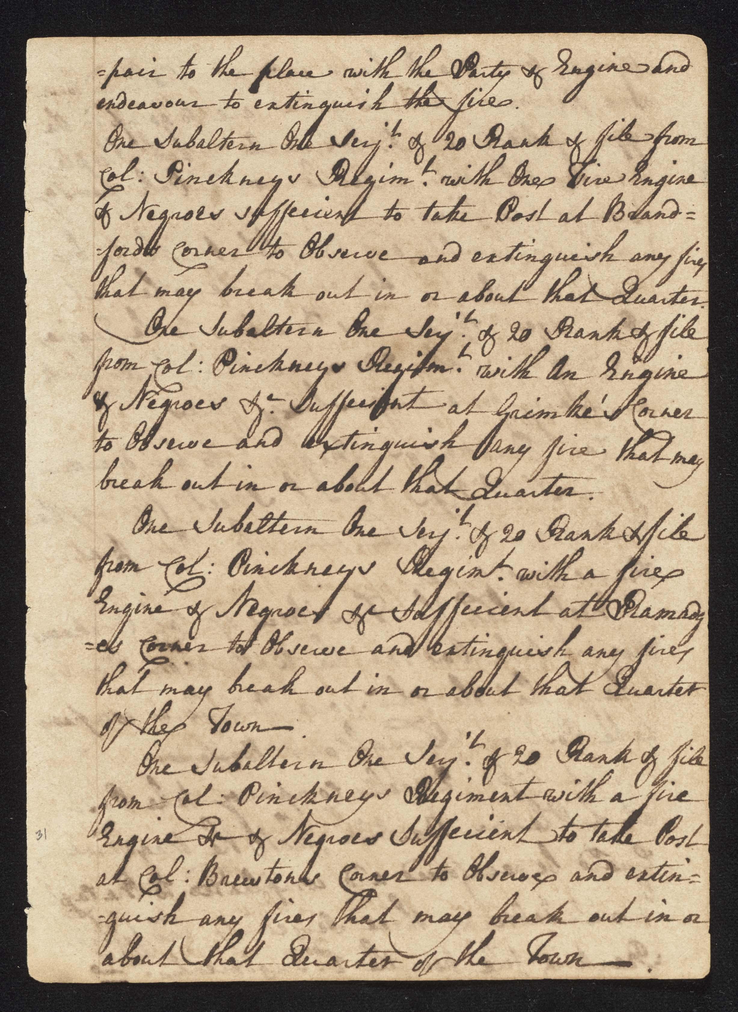 South Carolina Regiment Order Book, Page 61
