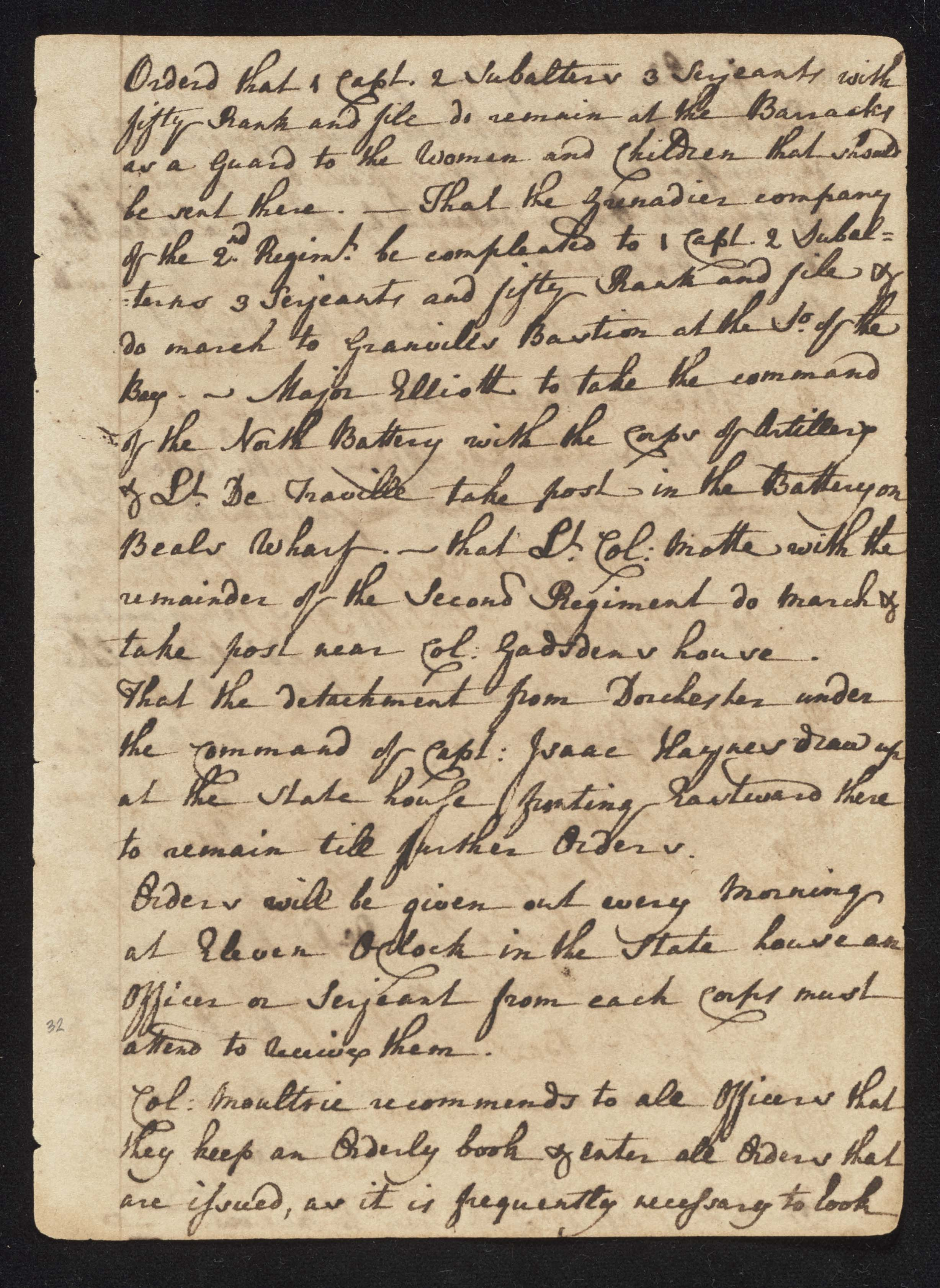 South Carolina Regiment Order Book, Page 63