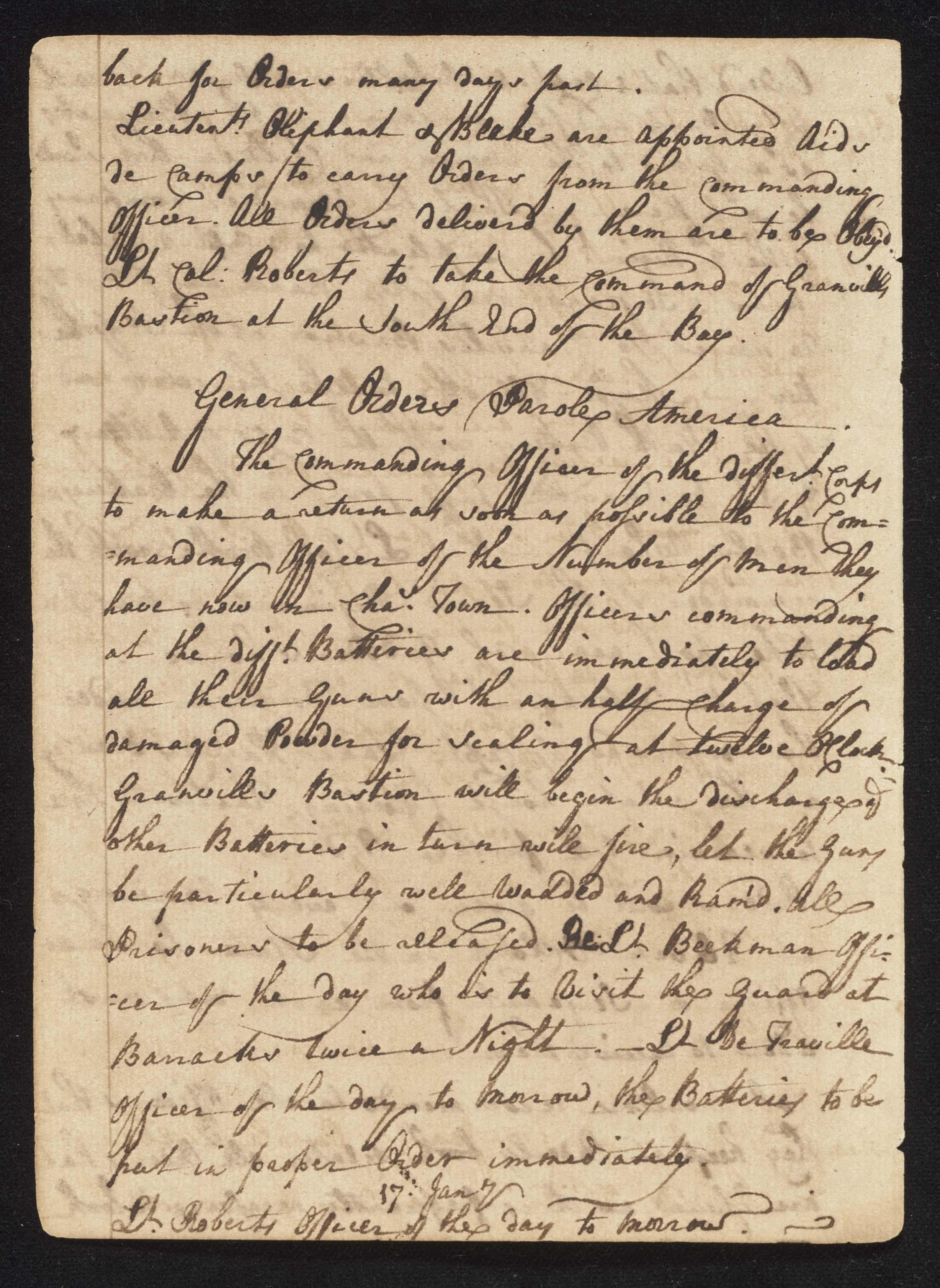 South Carolina Regiment Order Book, Page 64