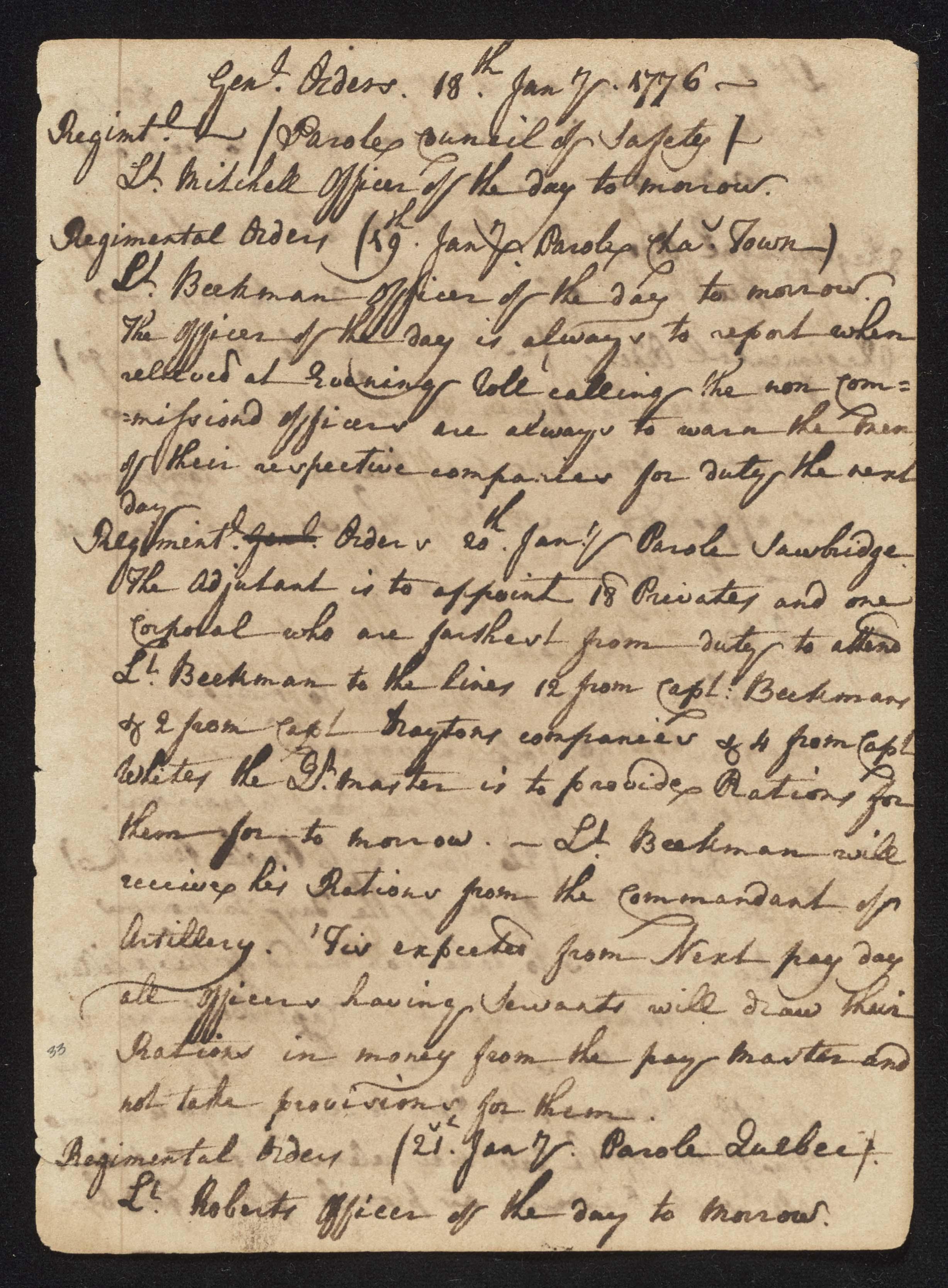 South Carolina Regiment Order Book, Page 65