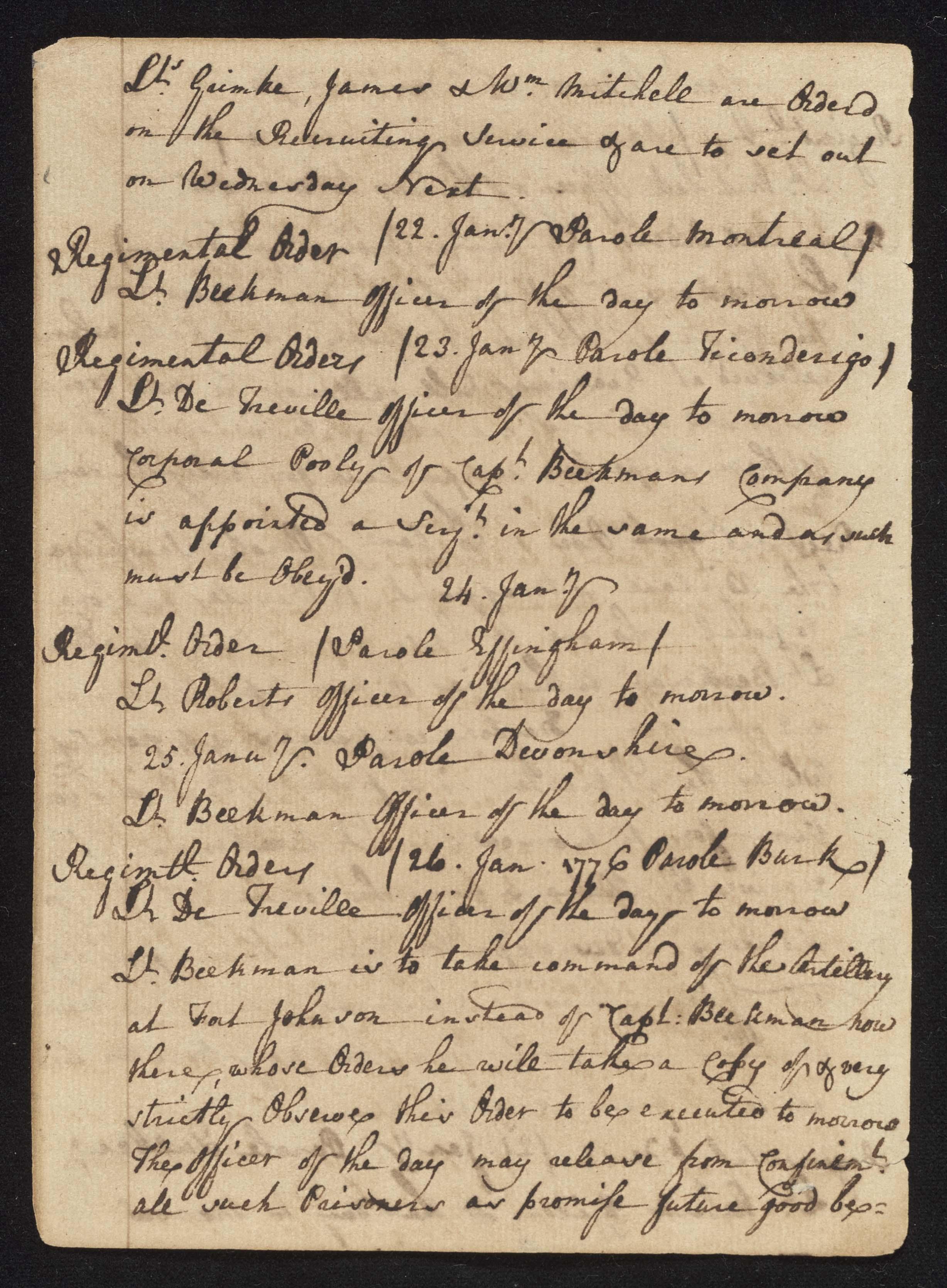 South Carolina Regiment Order Book, Page 66