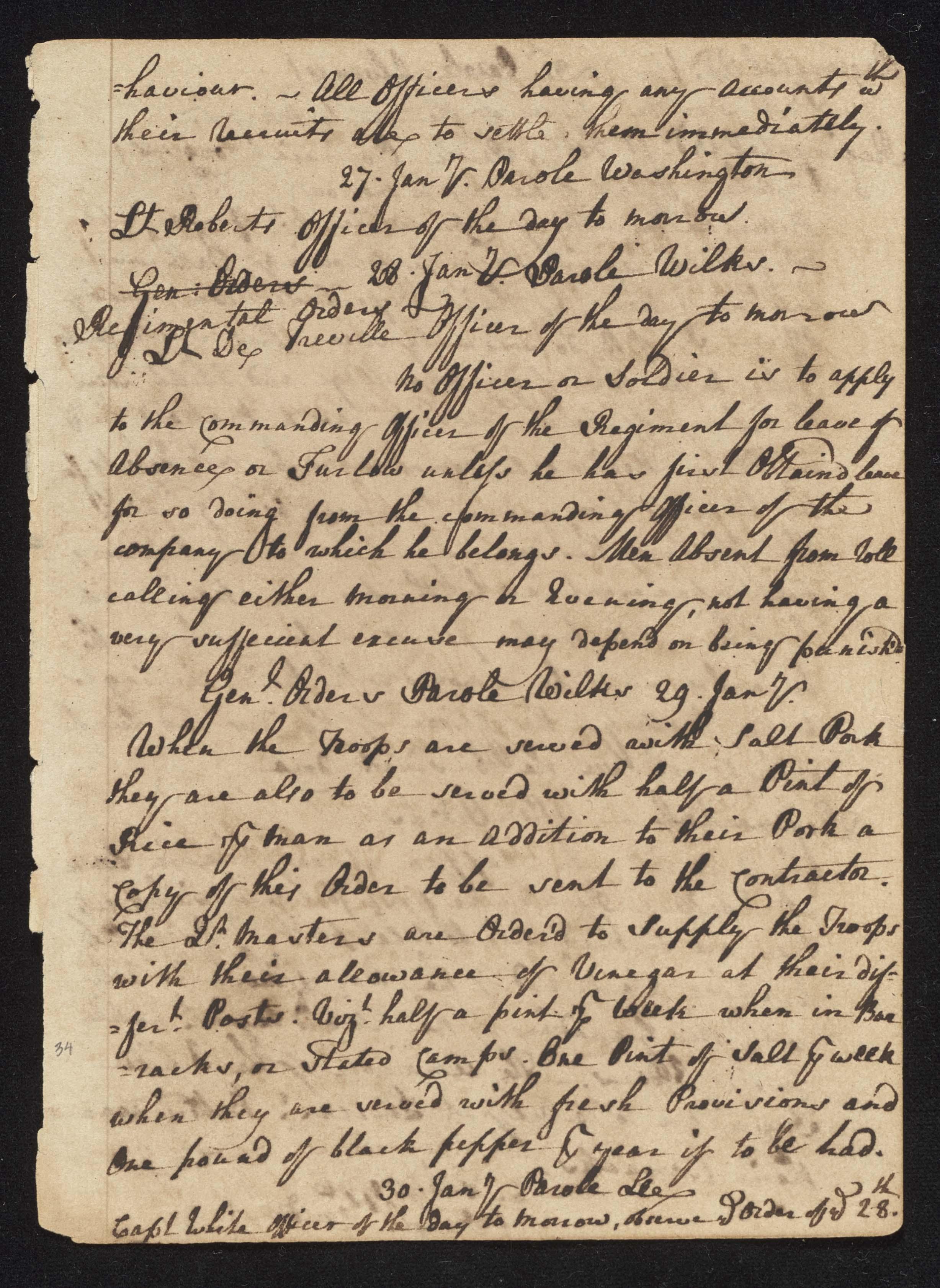 South Carolina Regiment Order Book, Page 67