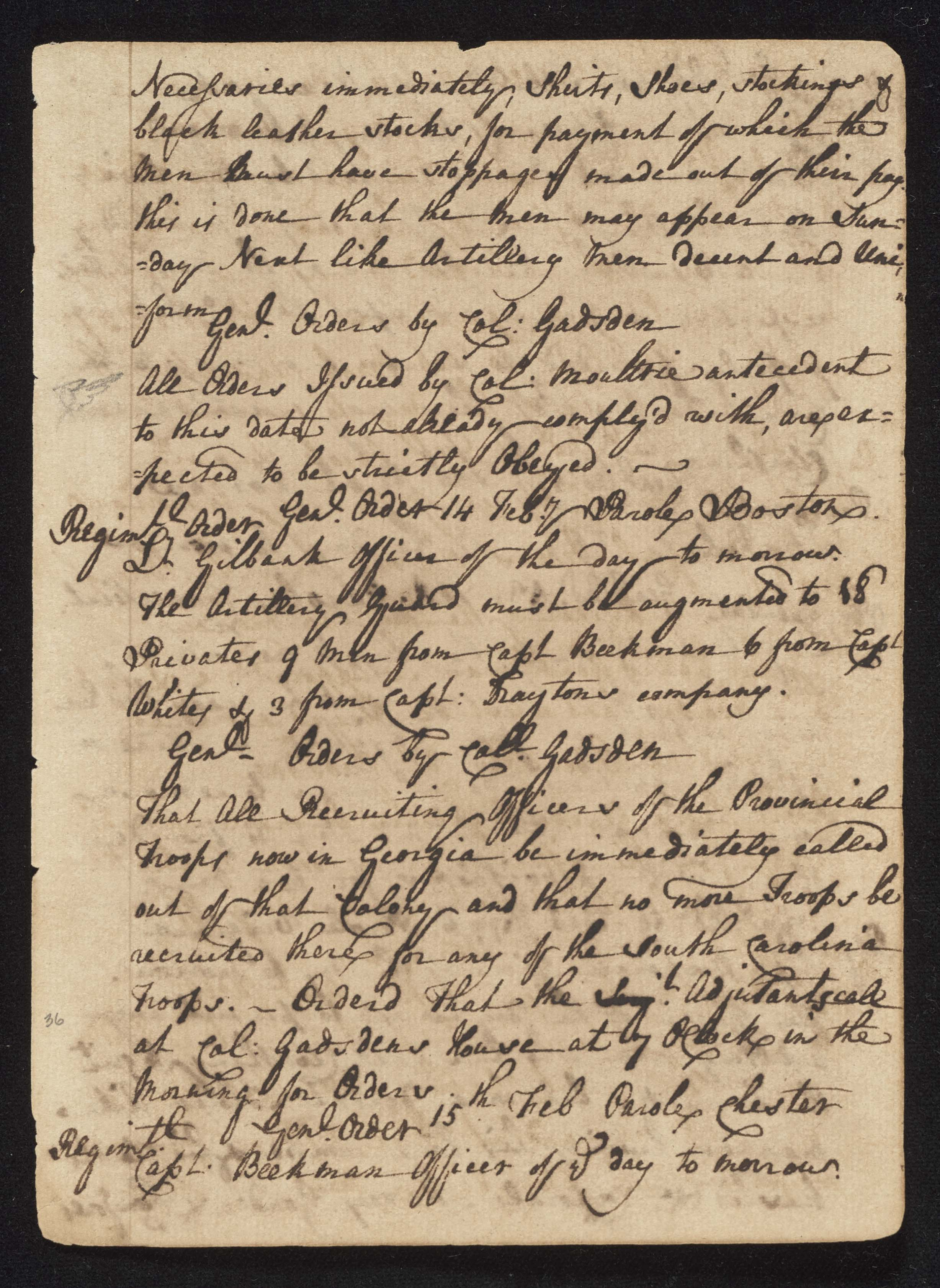 South Carolina Regiment Order Book, Page 71