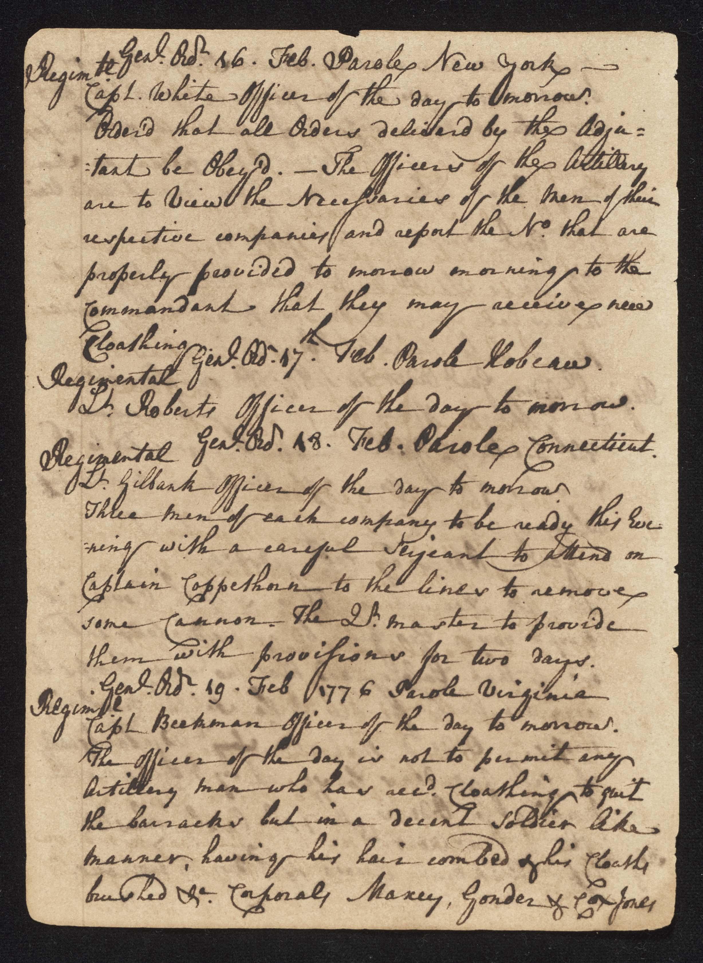 South Carolina Regiment Order Book, Page 72