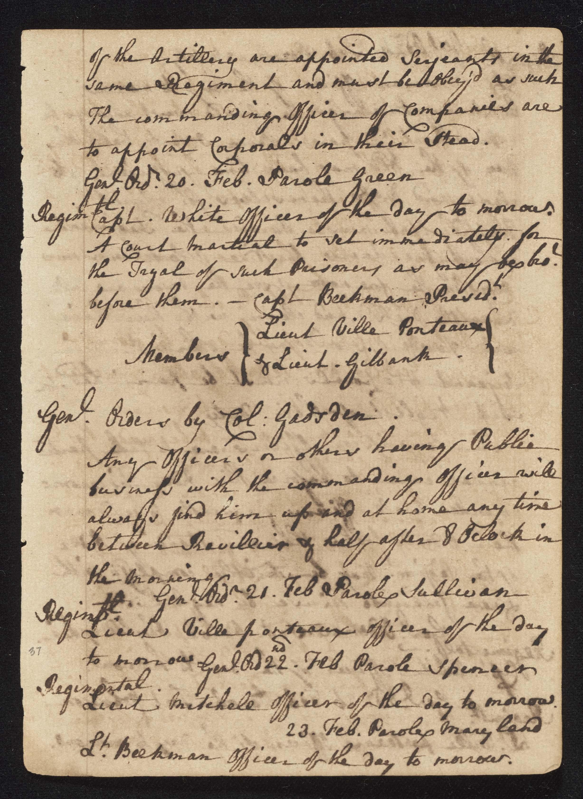 South Carolina Regiment Order Book, Page 73