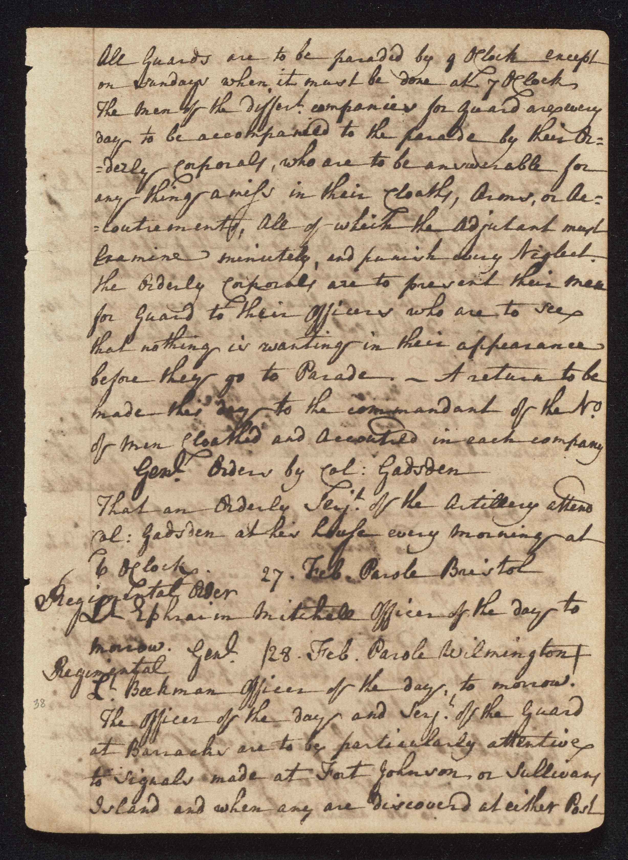 South Carolina Regiment Order Book, Page 75