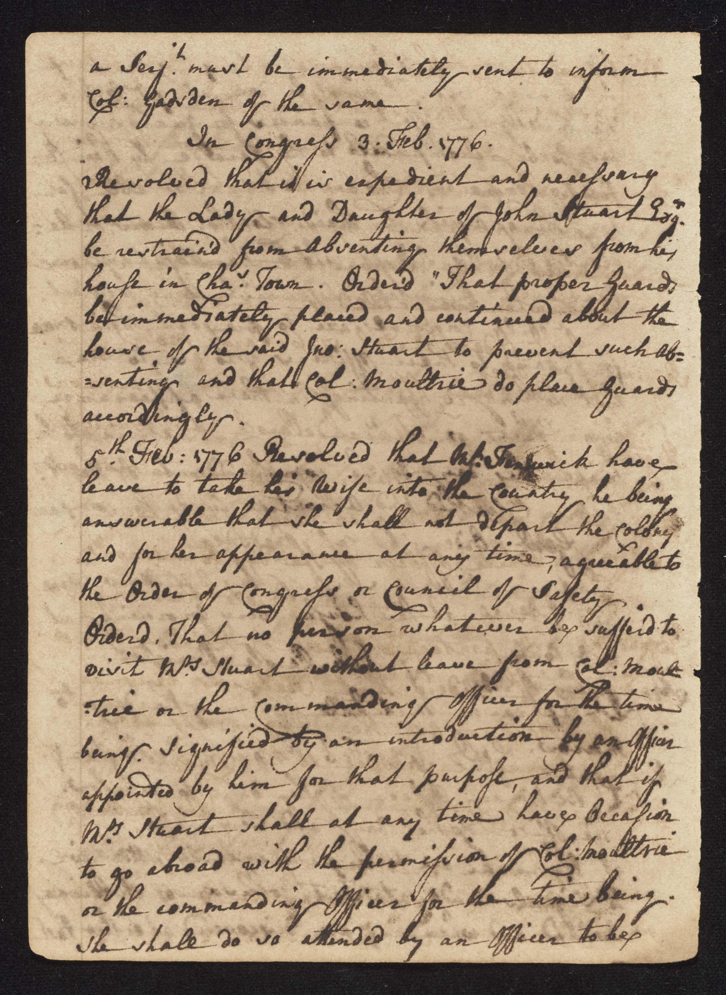 South Carolina Regiment Order Book, Page 76