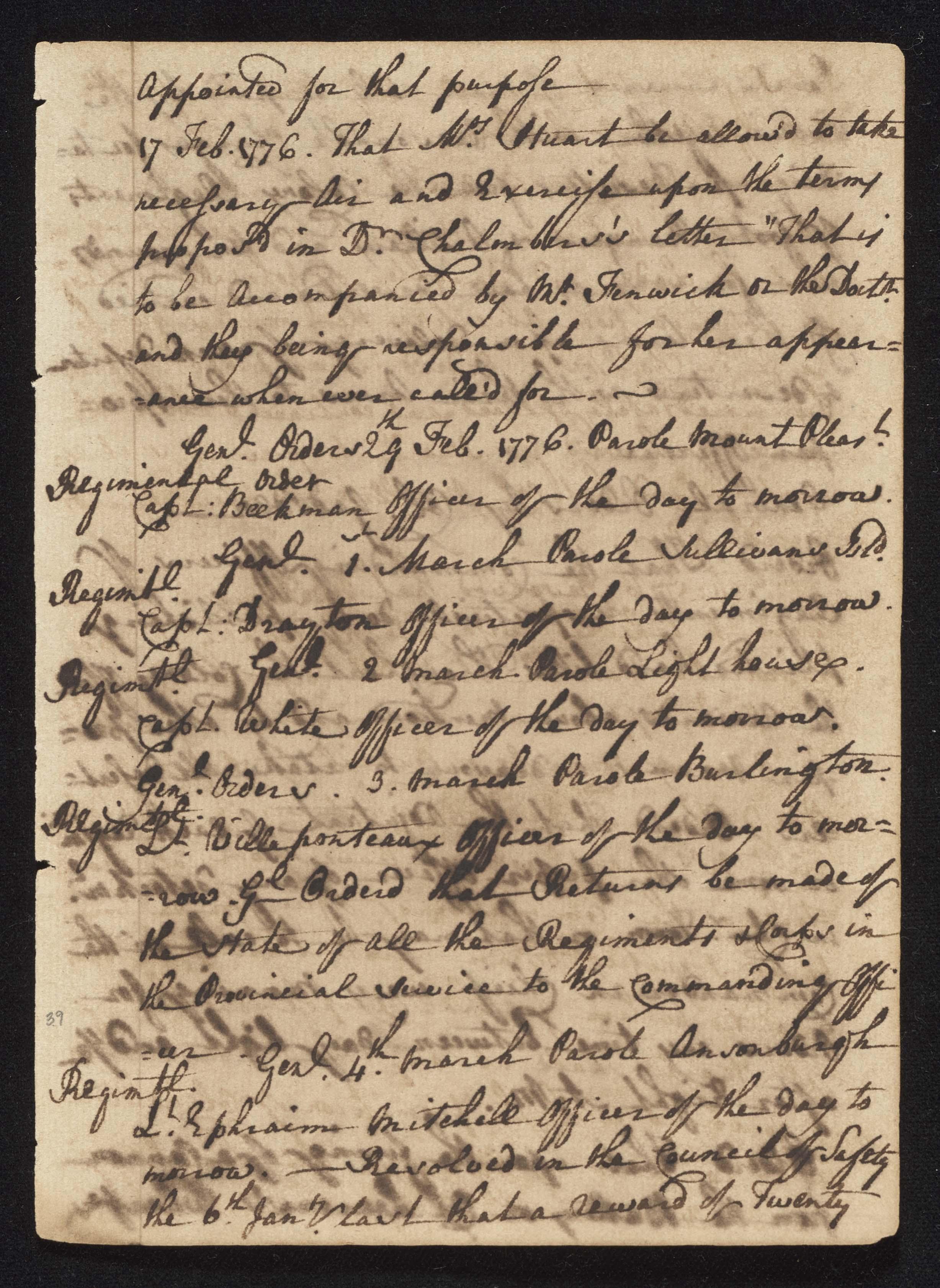 South Carolina Regiment Order Book, Page 77