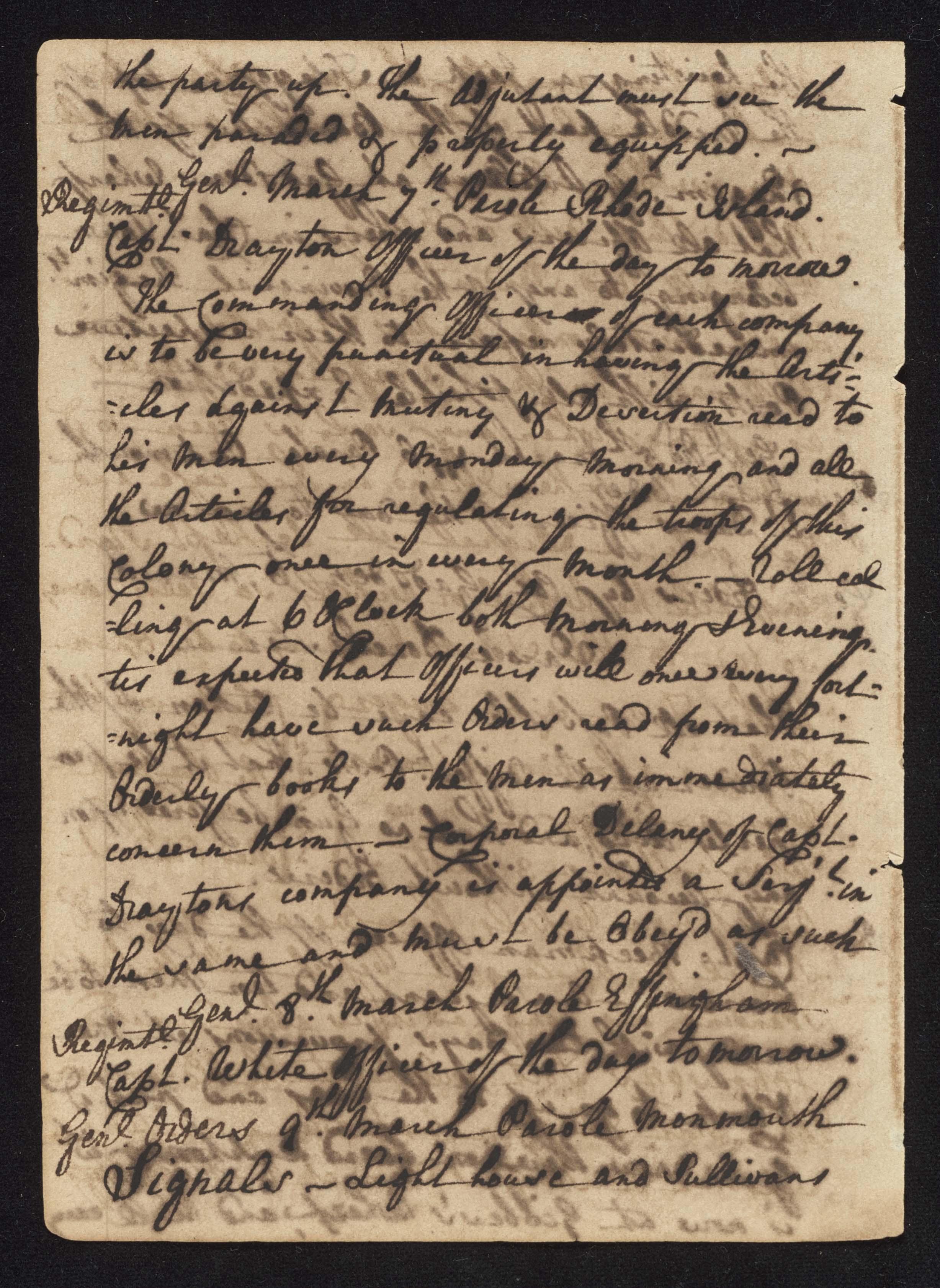 South Carolina Regiment Order Book, Page 80