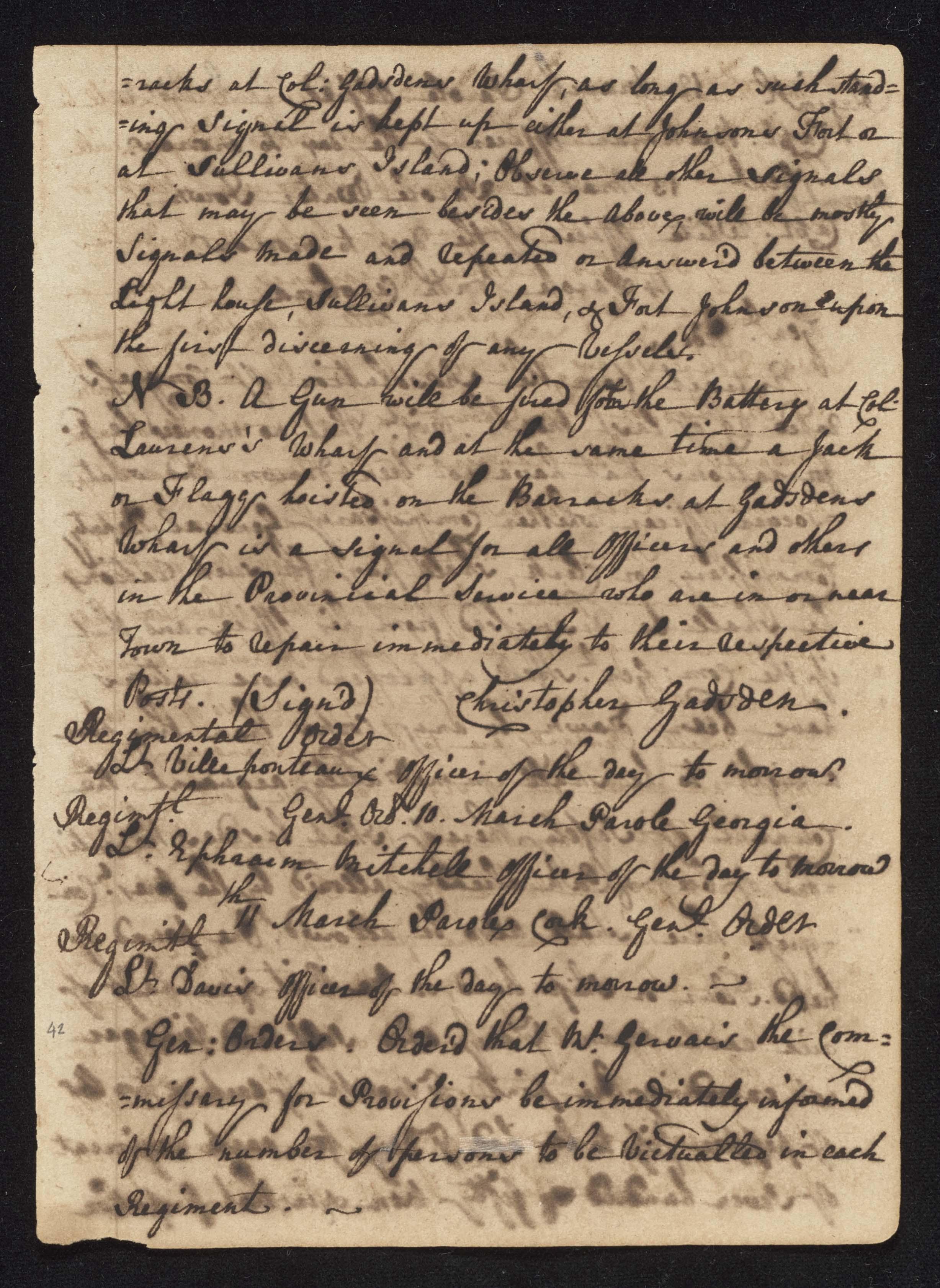 South Carolina Regiment Order Book, Page 83