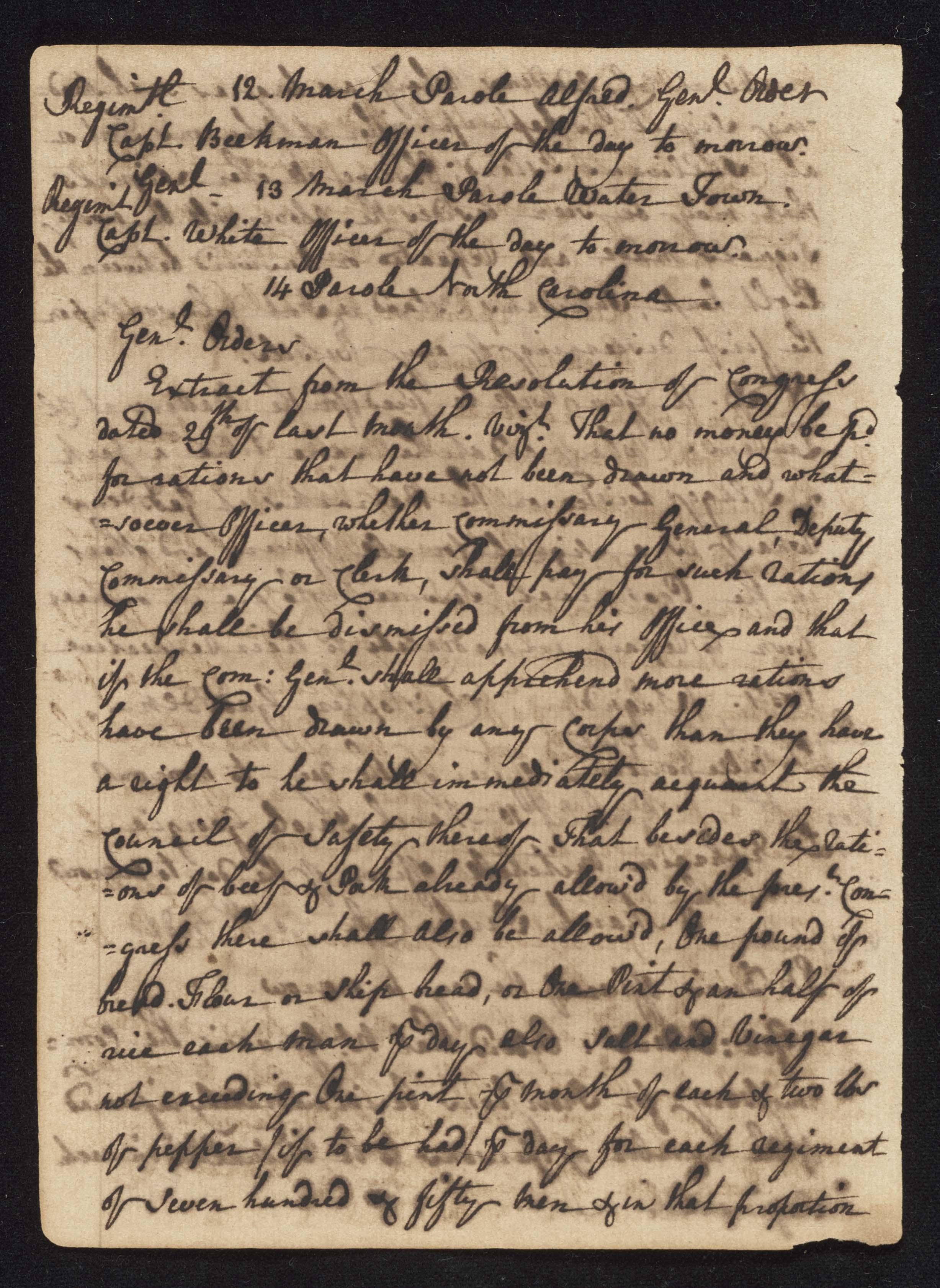 South Carolina Regiment Order Book, Page 84