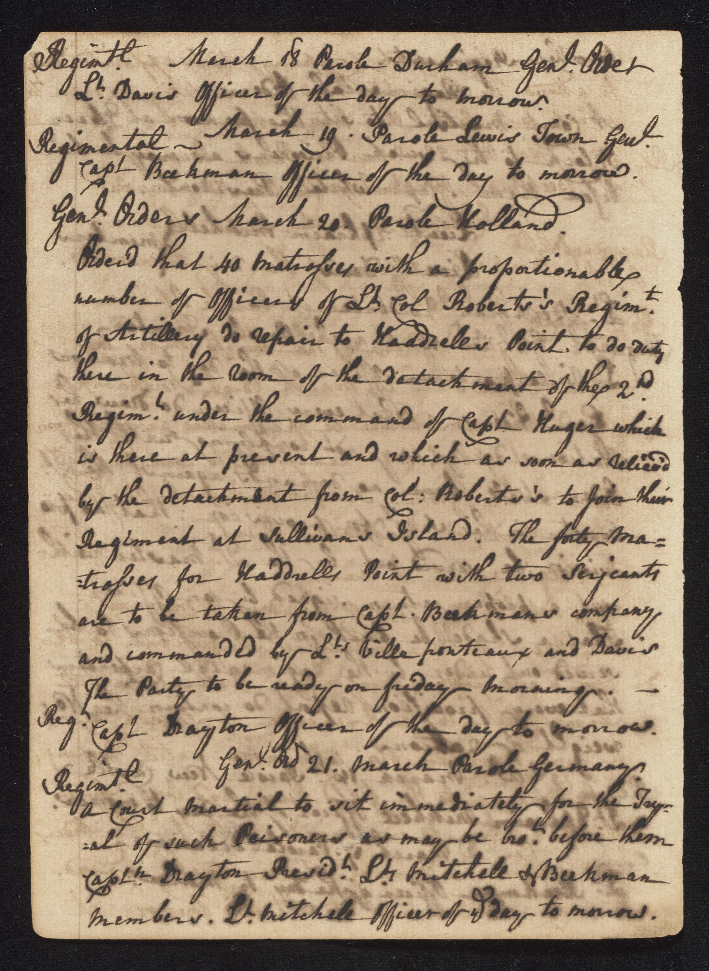 South Carolina Regiment Order Book, Page 86