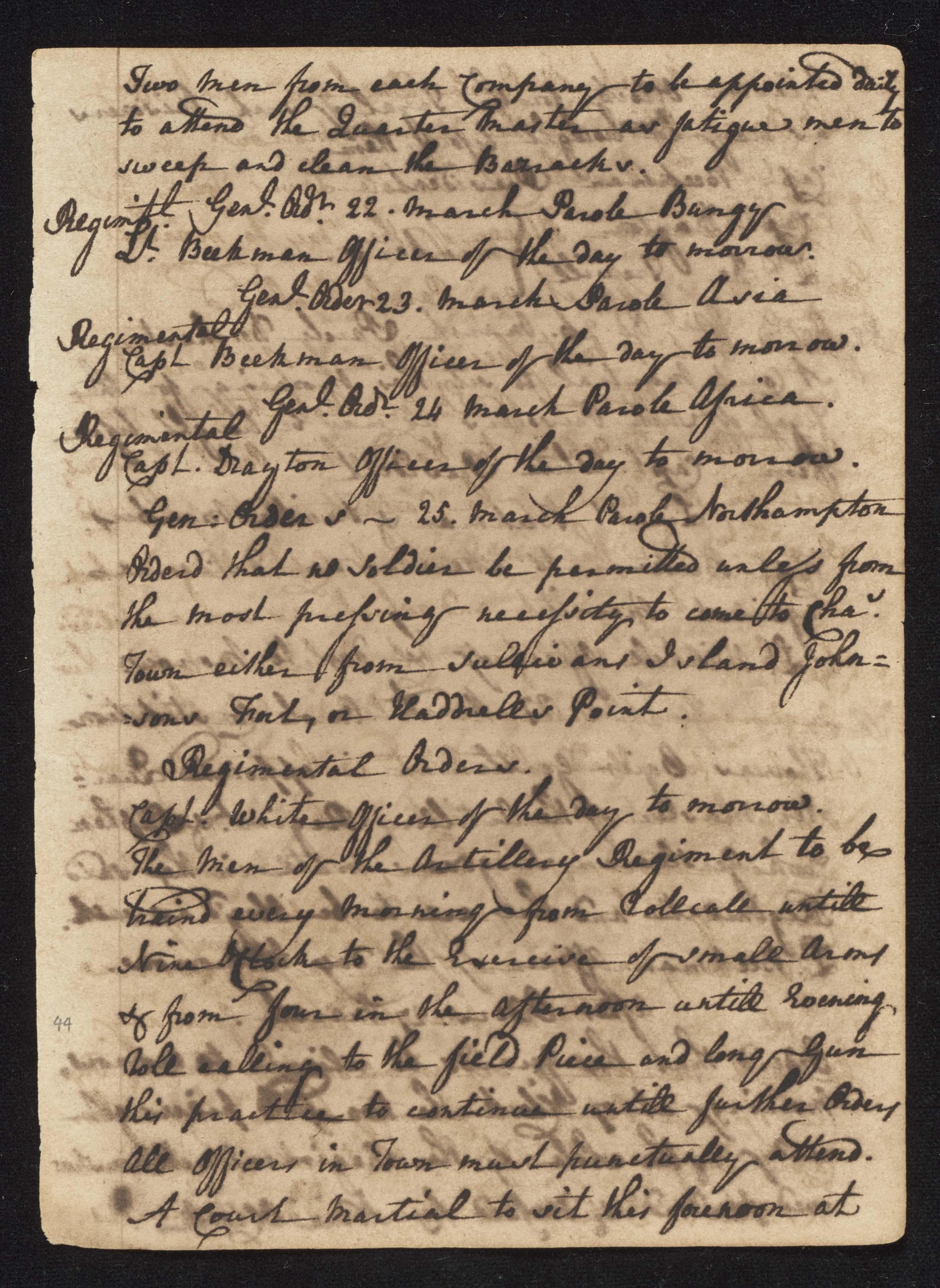 South Carolina Regiment Order Book, Page 87