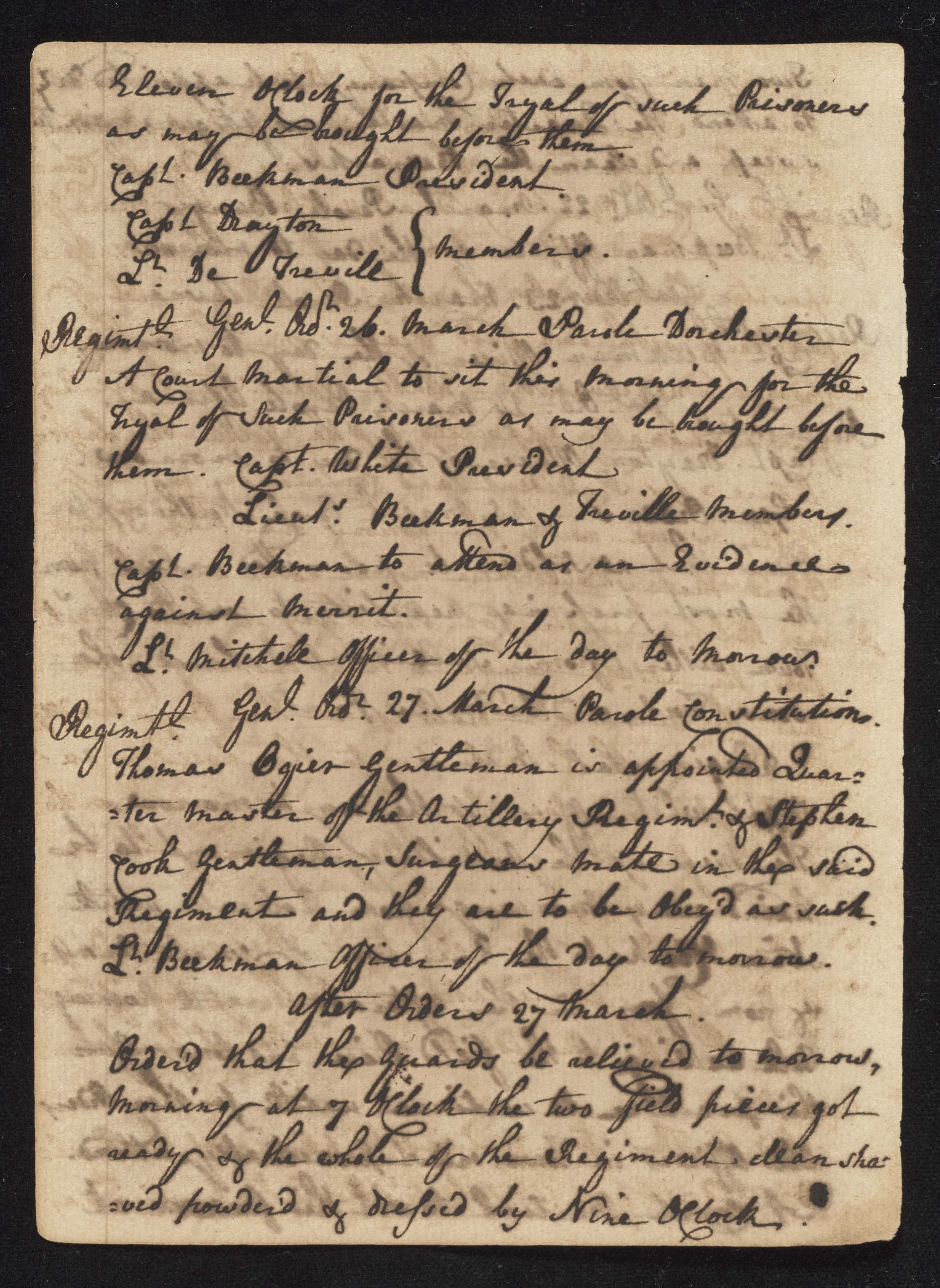 South Carolina Regiment Order Book, Page 88