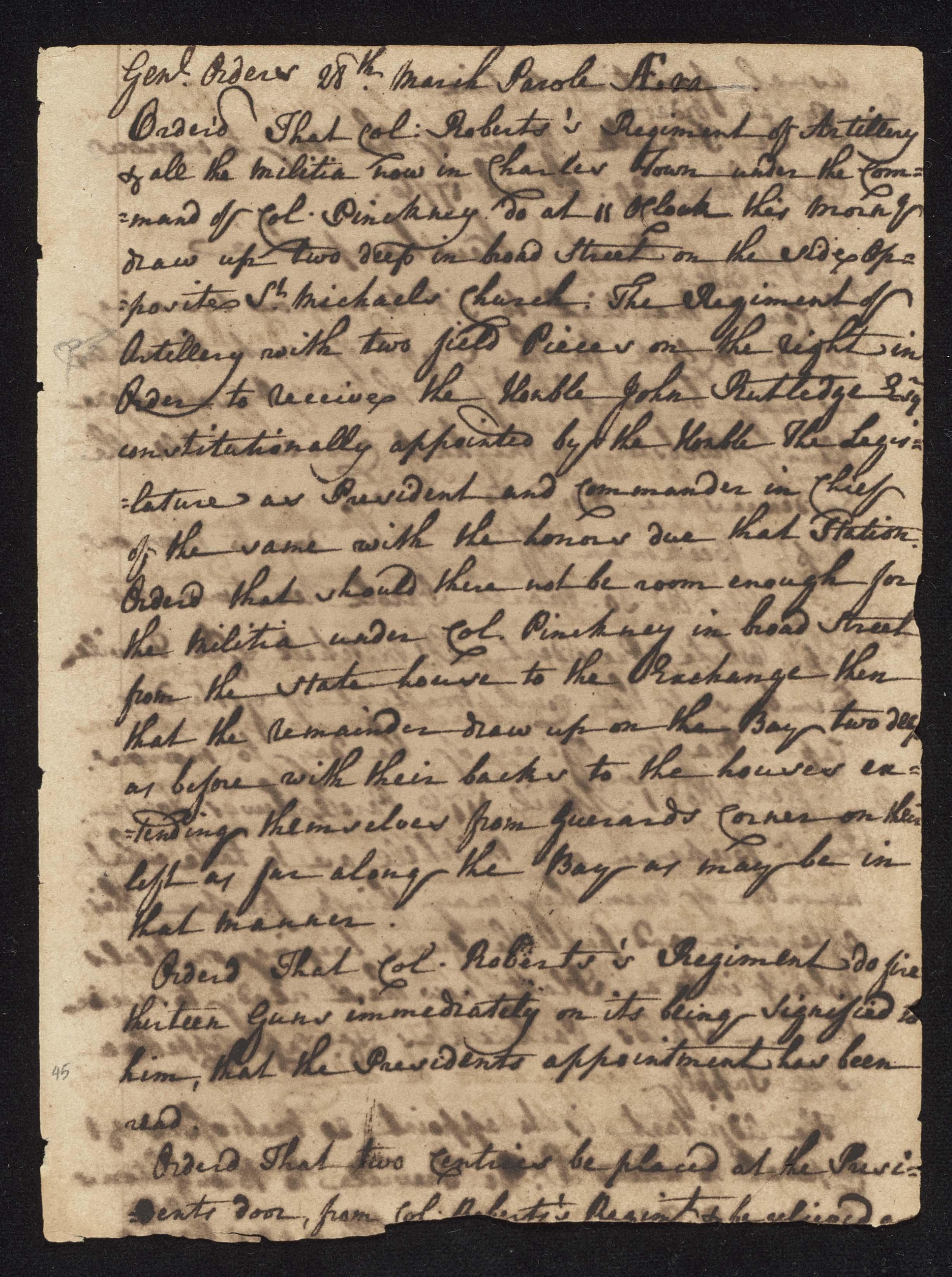 South Carolina Regiment Order Book, Page 89