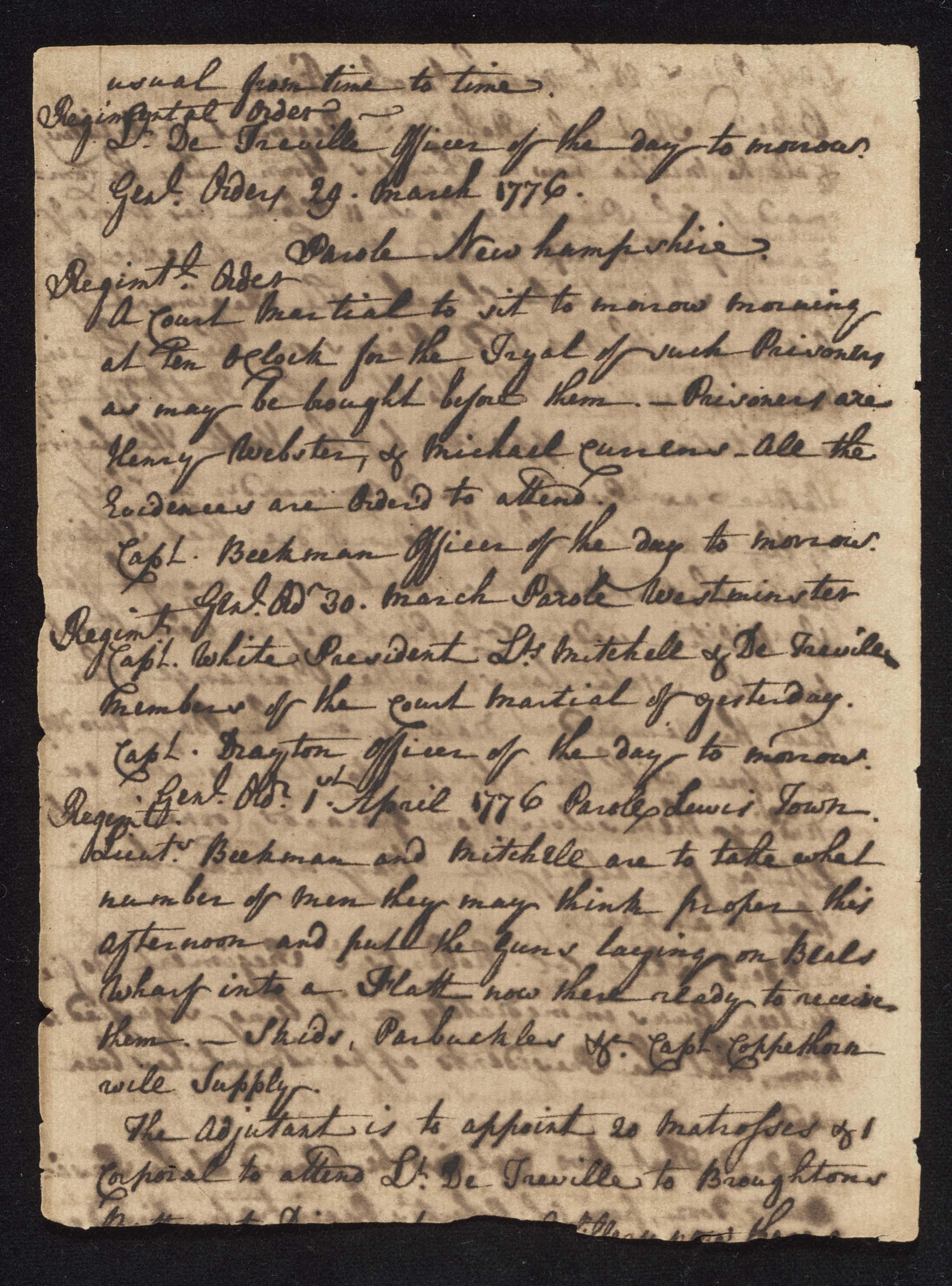 South Carolina Regiment Order Book, Page 90