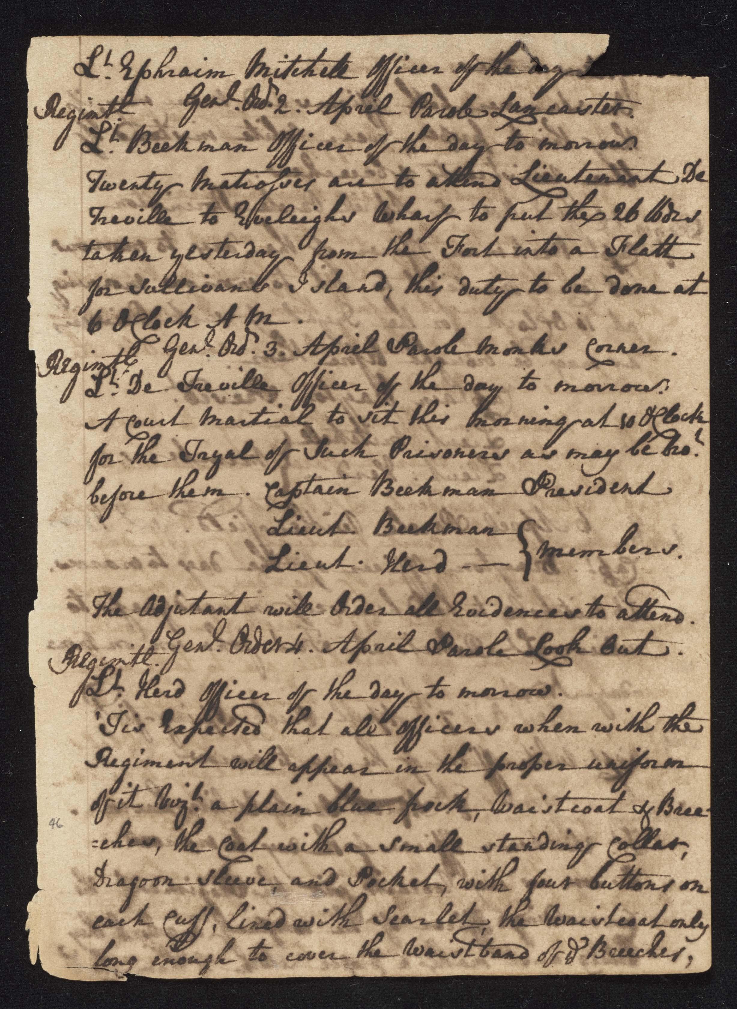 South Carolina Regiment Order Book, Page 91
