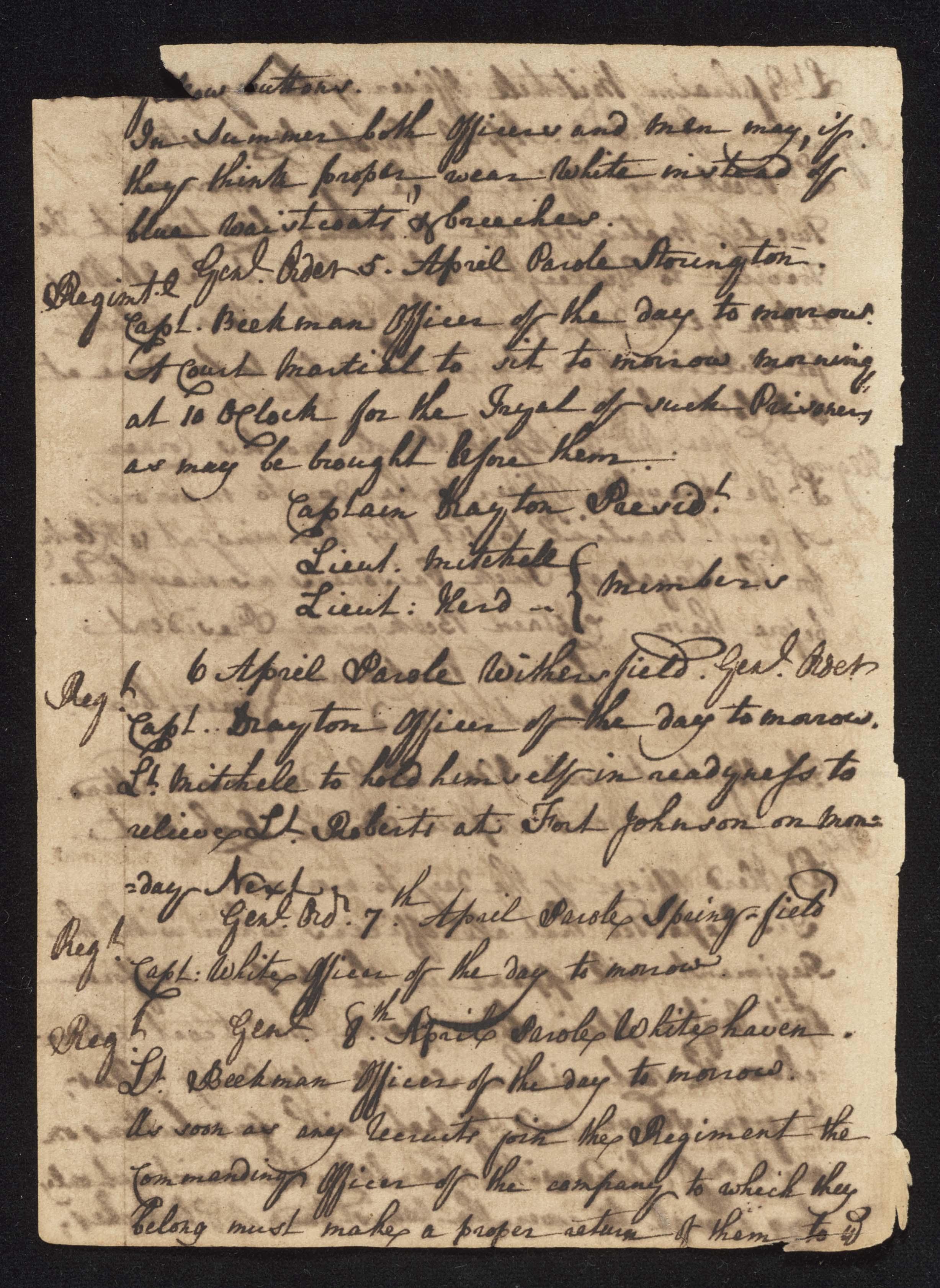 South Carolina Regiment Order Book, Page 92