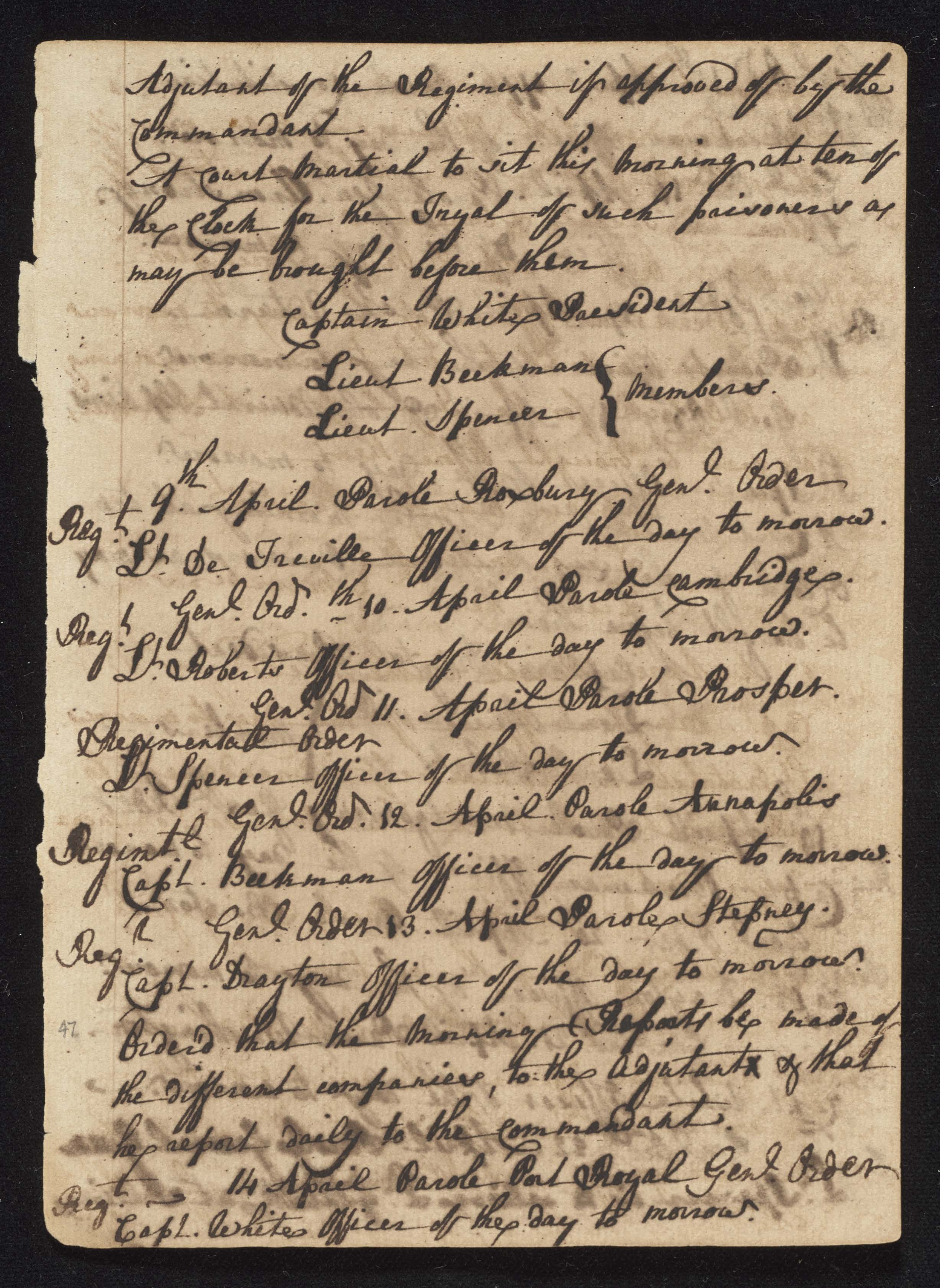South Carolina Regiment Order Book, Page 93