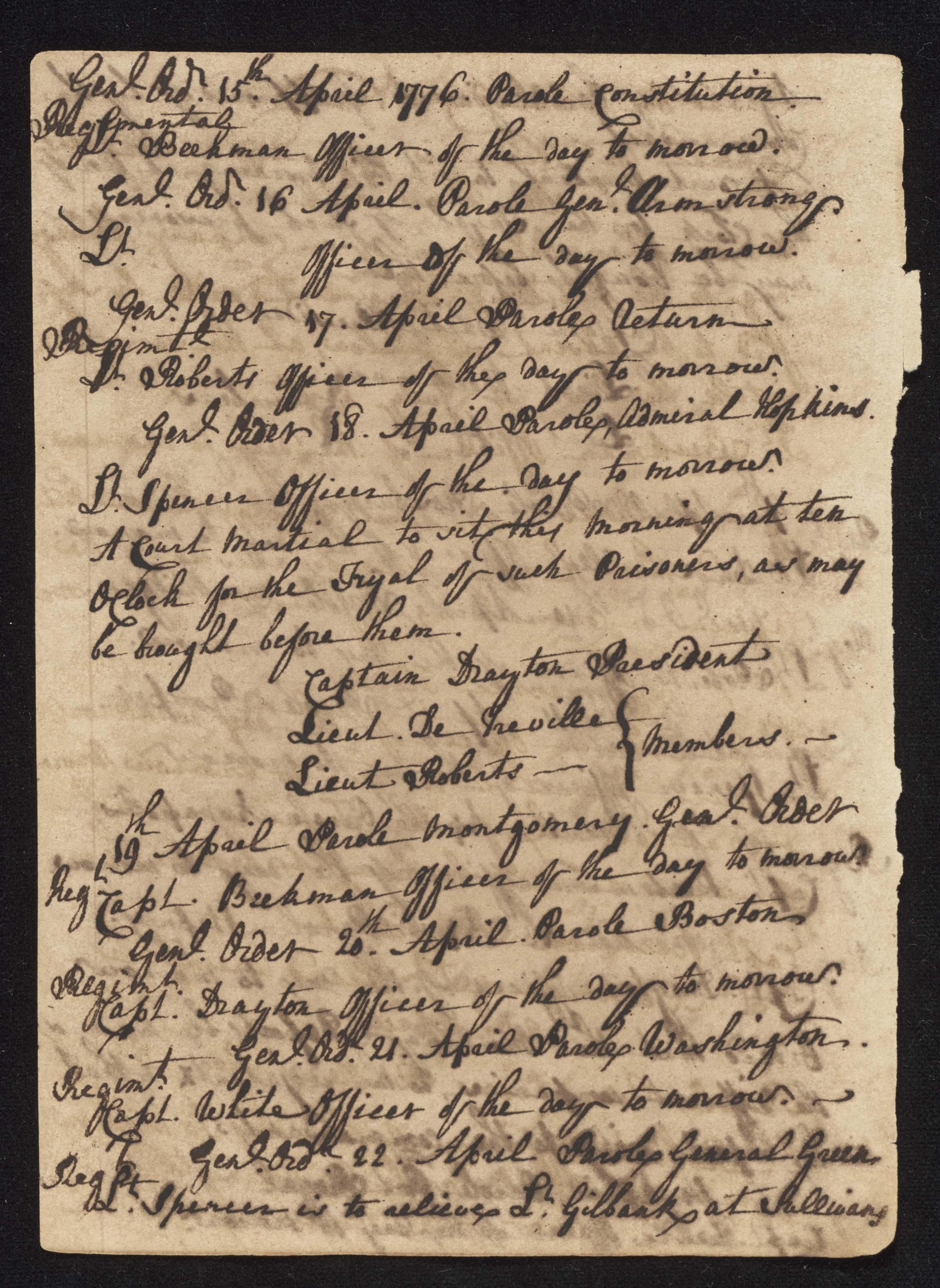 South Carolina Regiment Order Book, Page 94