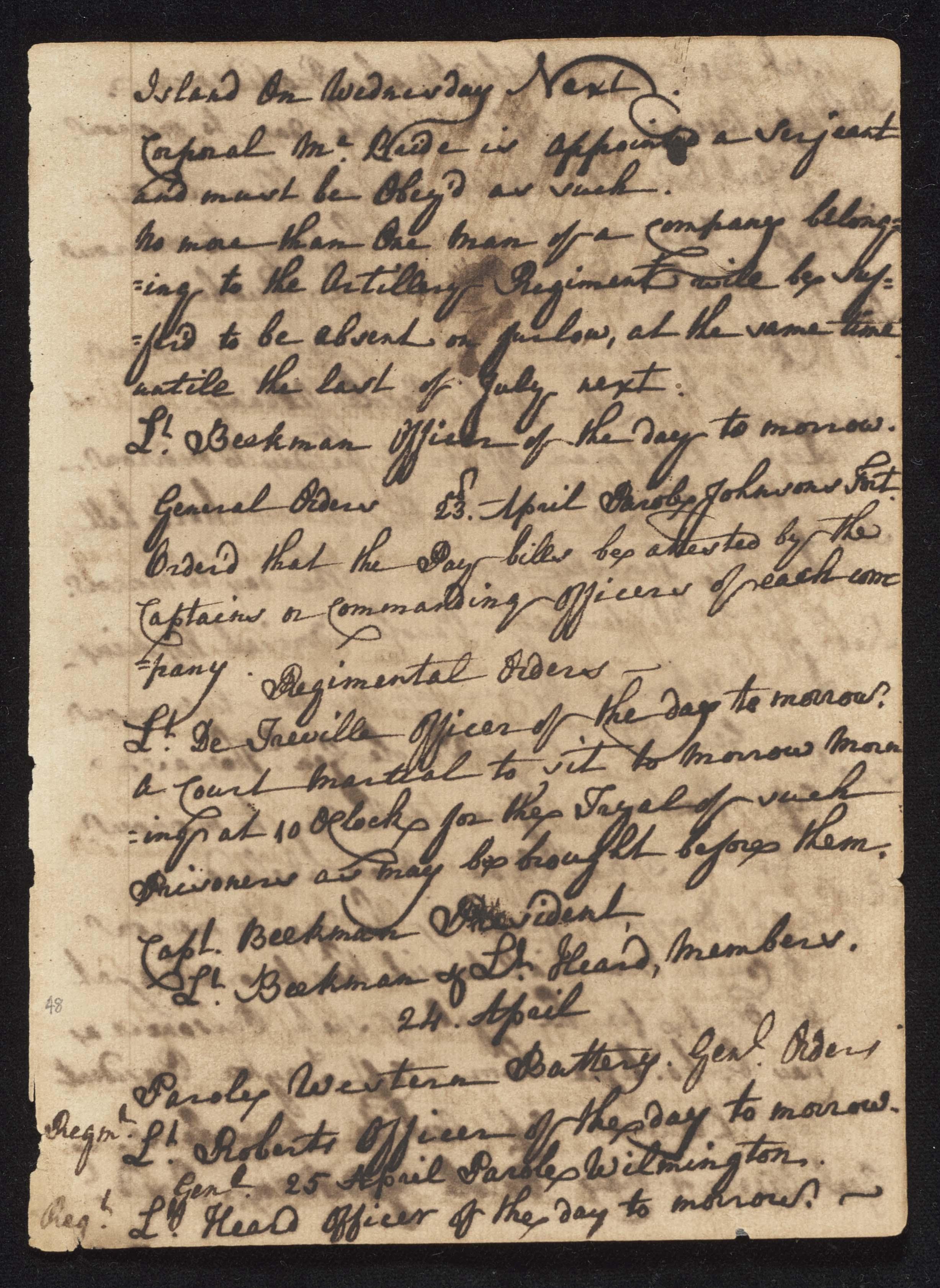 South Carolina Regiment Order Book, Page 95