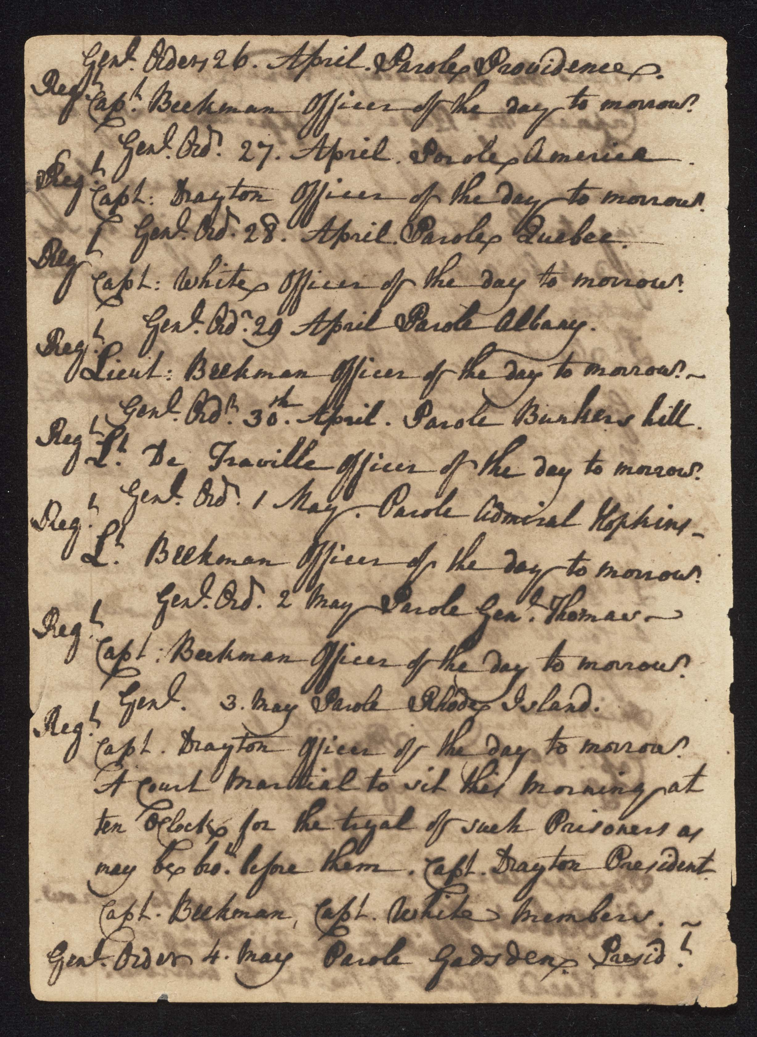 South Carolina Regiment Order Book, Page 96