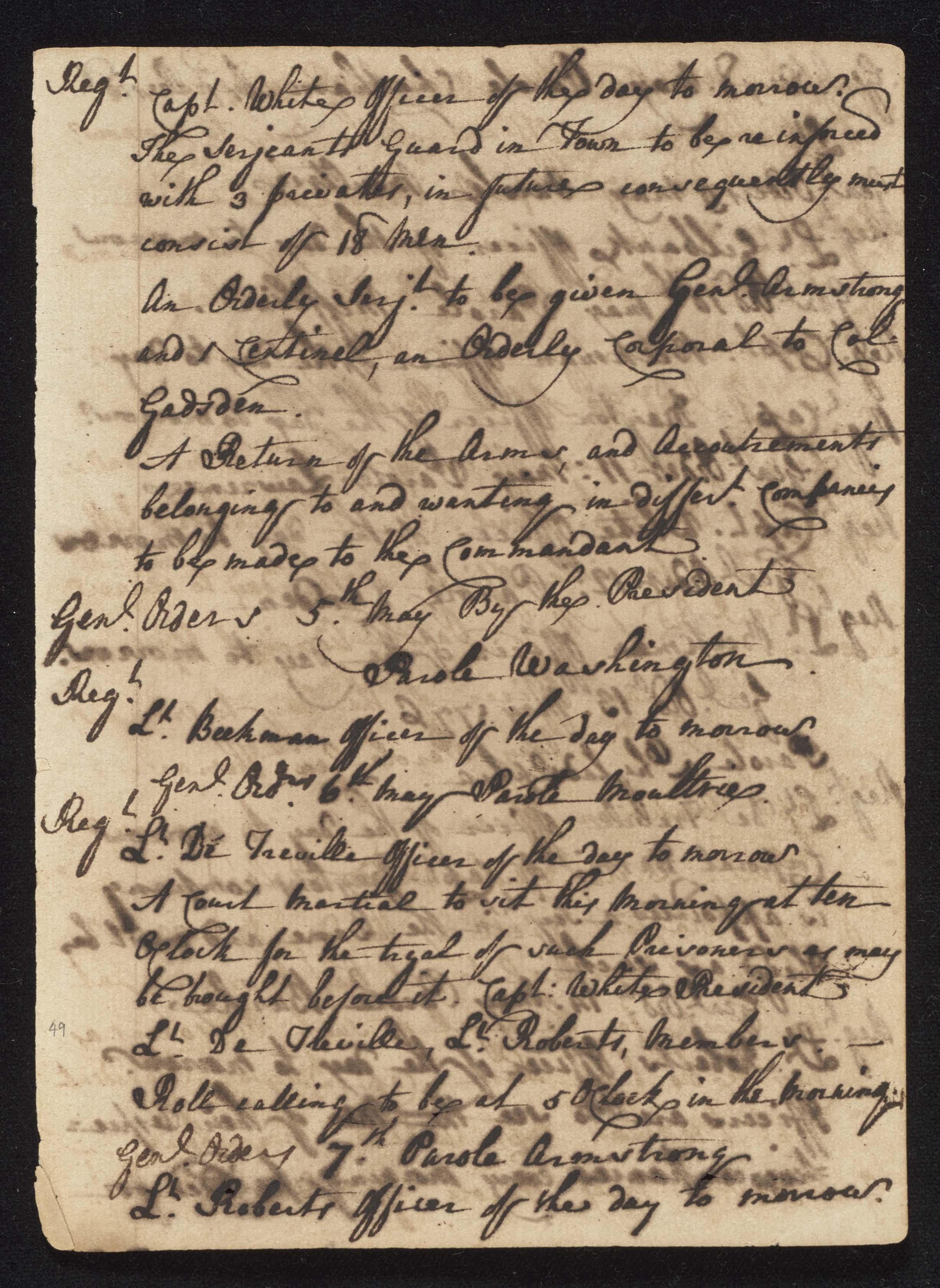South Carolina Regiment Order Book, Page 97