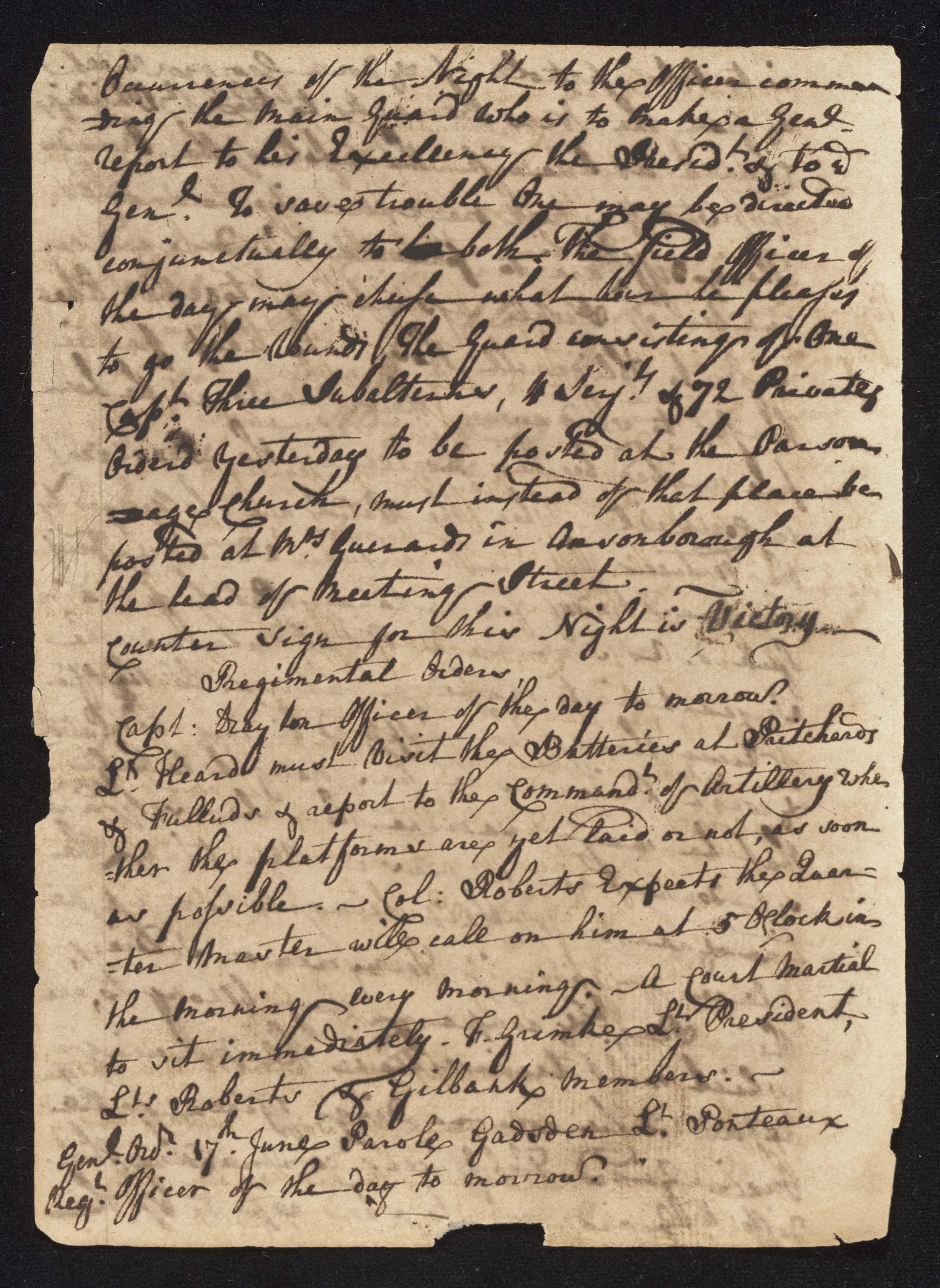South Carolina Regiment Order Book, Page 122
