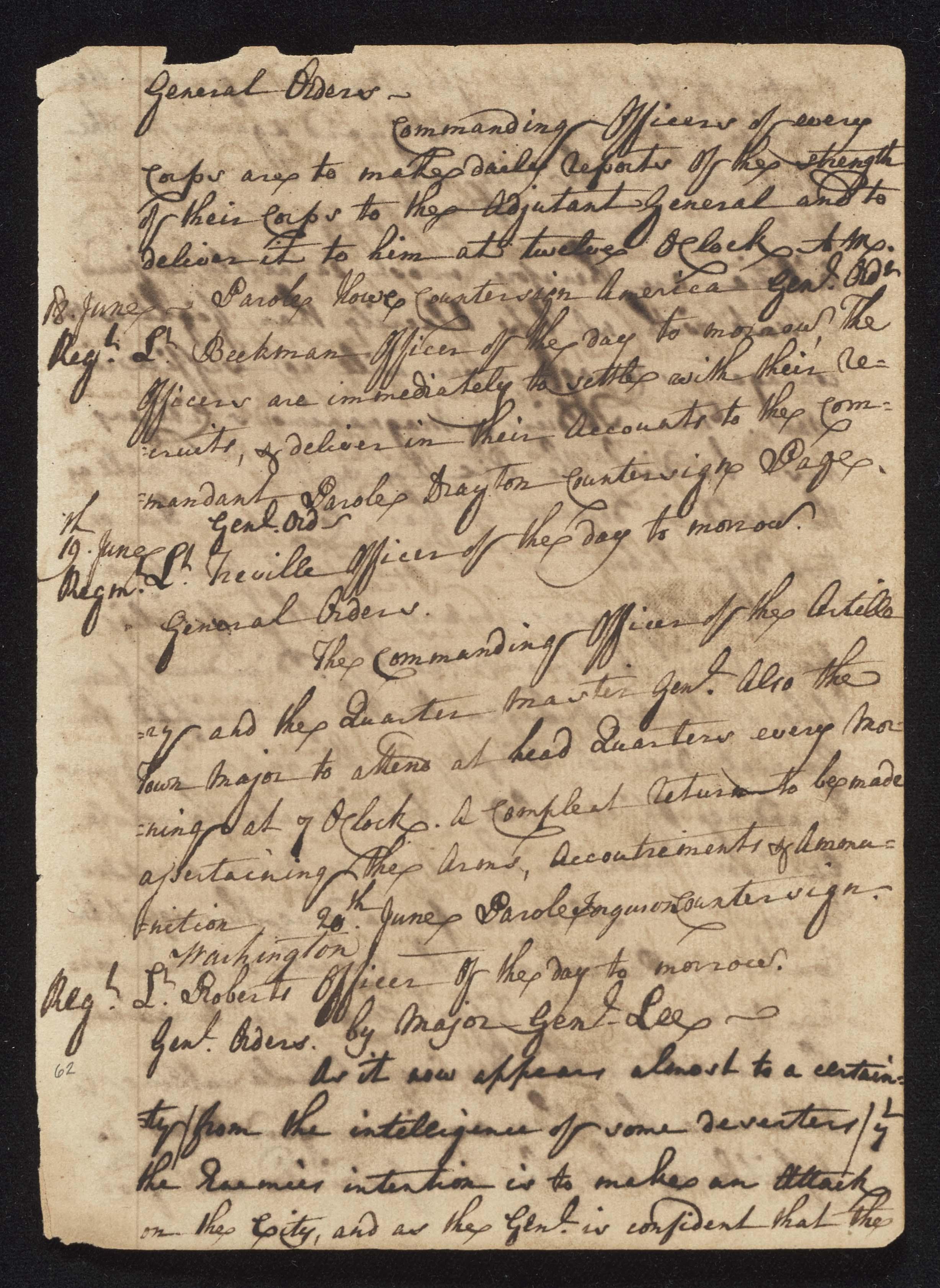 South Carolina Regiment Order Book, Page 123