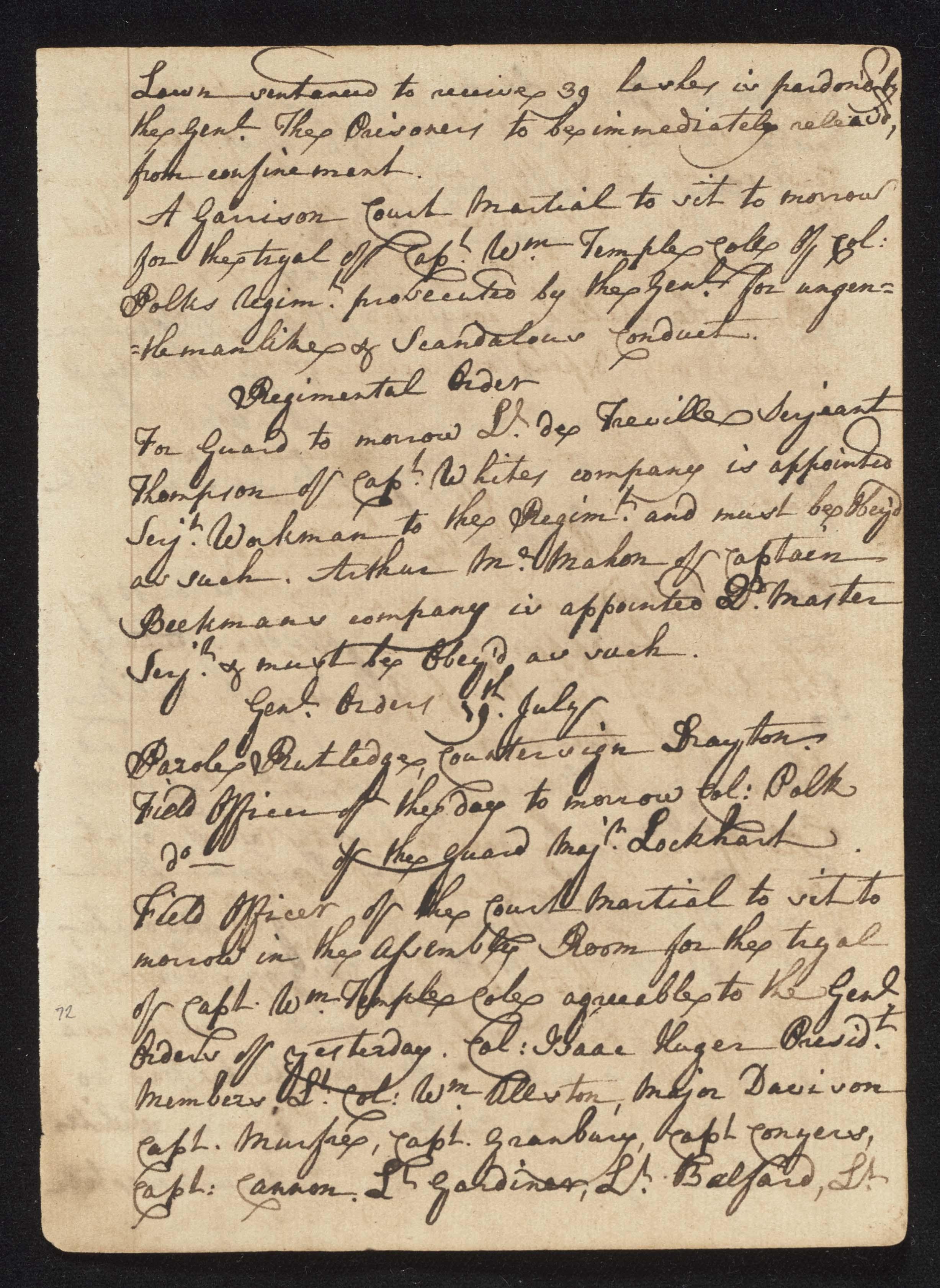 South Carolina Regiment Order Book, Page 143