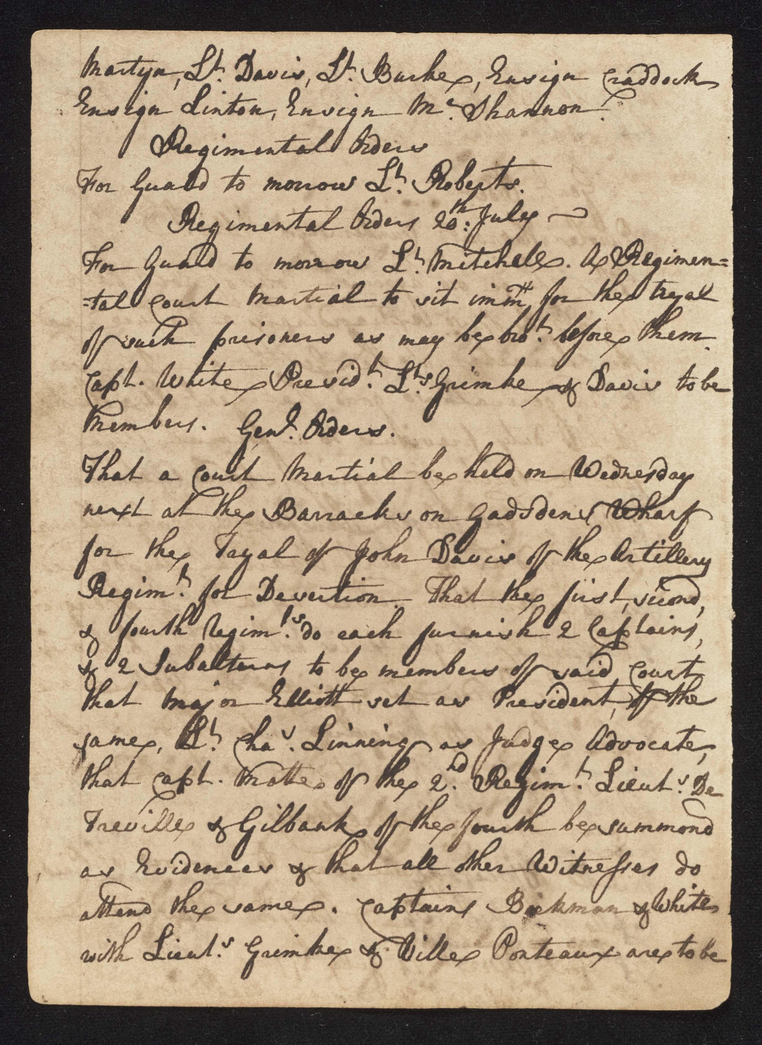 South Carolina Regiment Order Book, Page 144