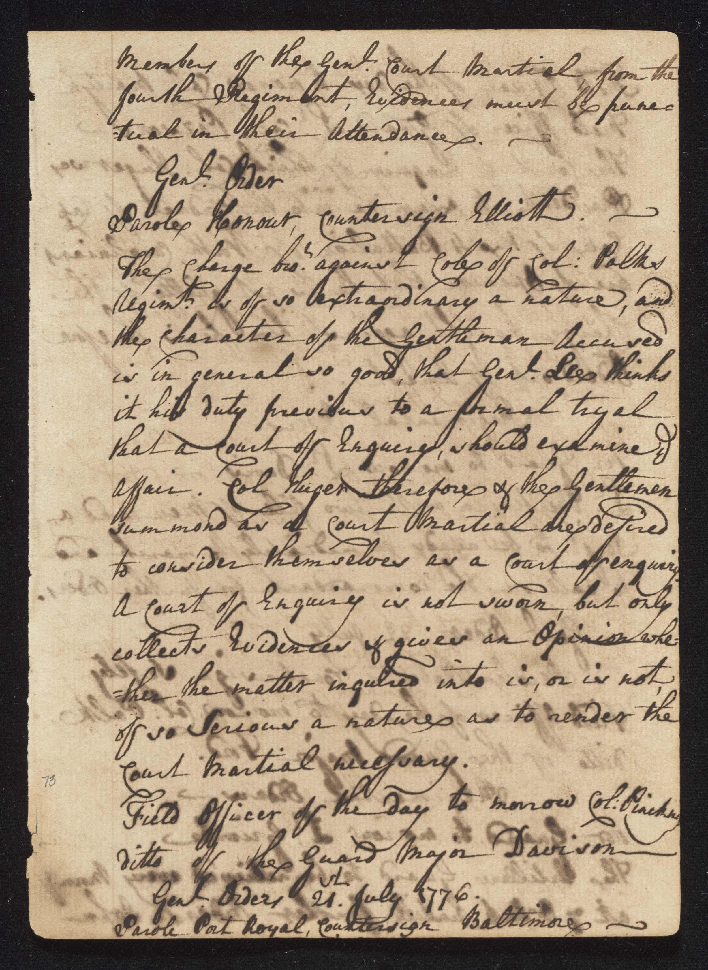 South Carolina Regiment Order Book, Page 145